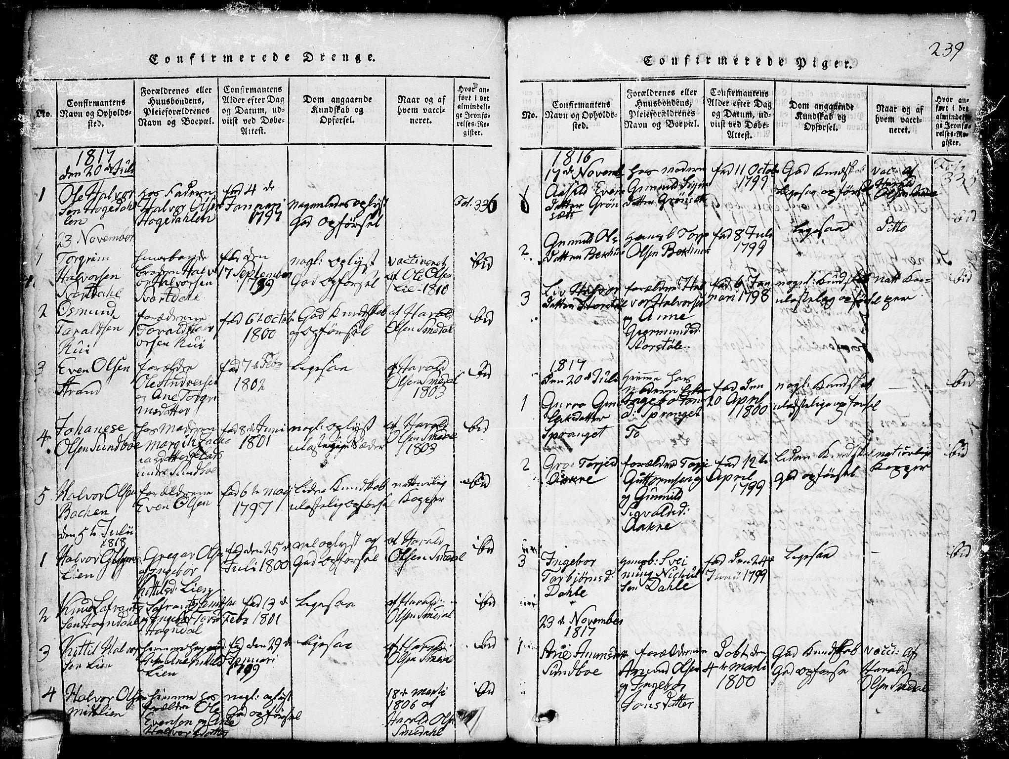 SAKO, Seljord kirkebøker, G/Gb/L0002: Klokkerbok nr. II 2, 1815-1854, s. 239