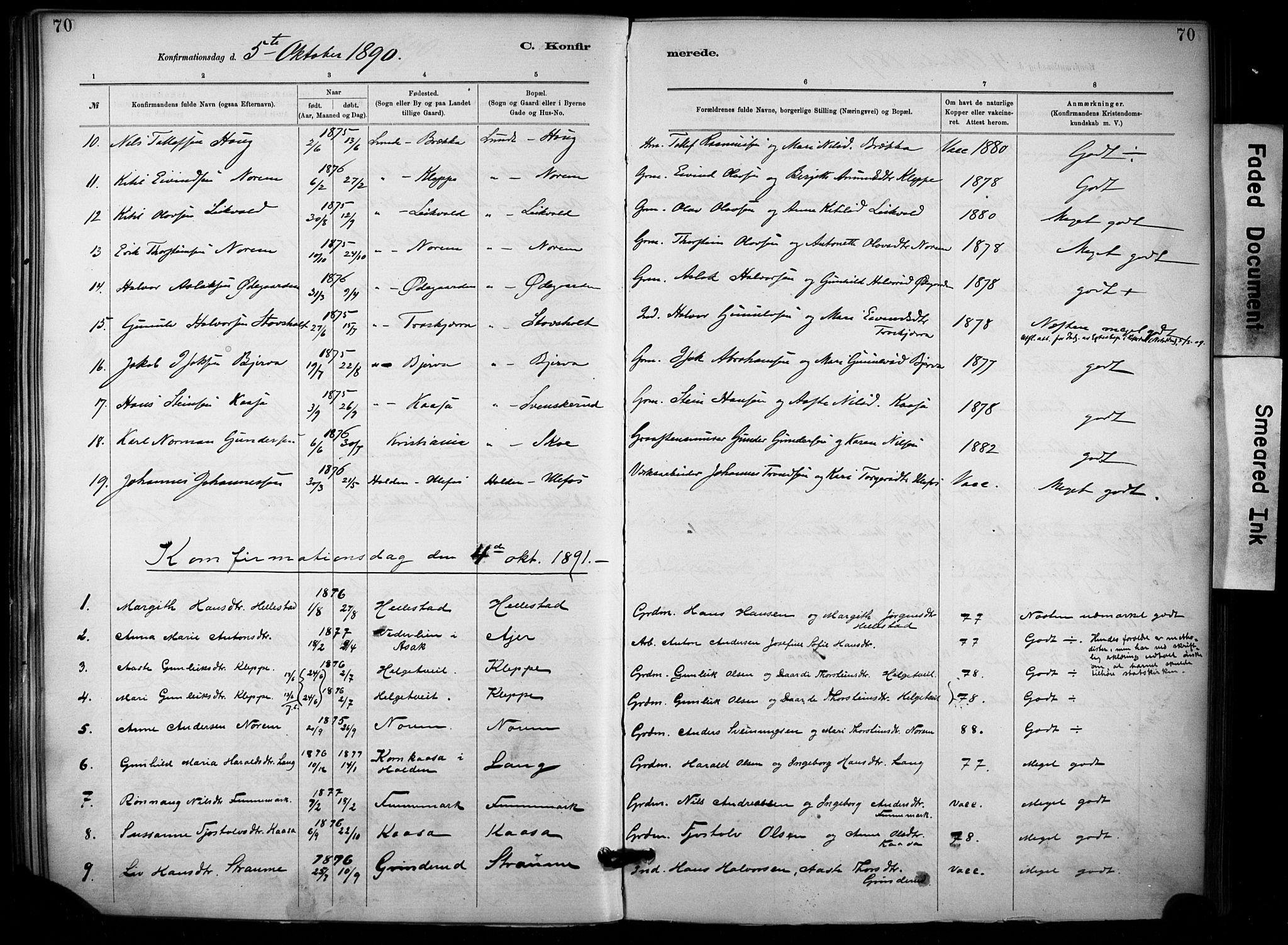 SAKO, Lunde kirkebøker, F/Fa/L0002: Ministerialbok nr. I 2, 1884-1892, s. 70