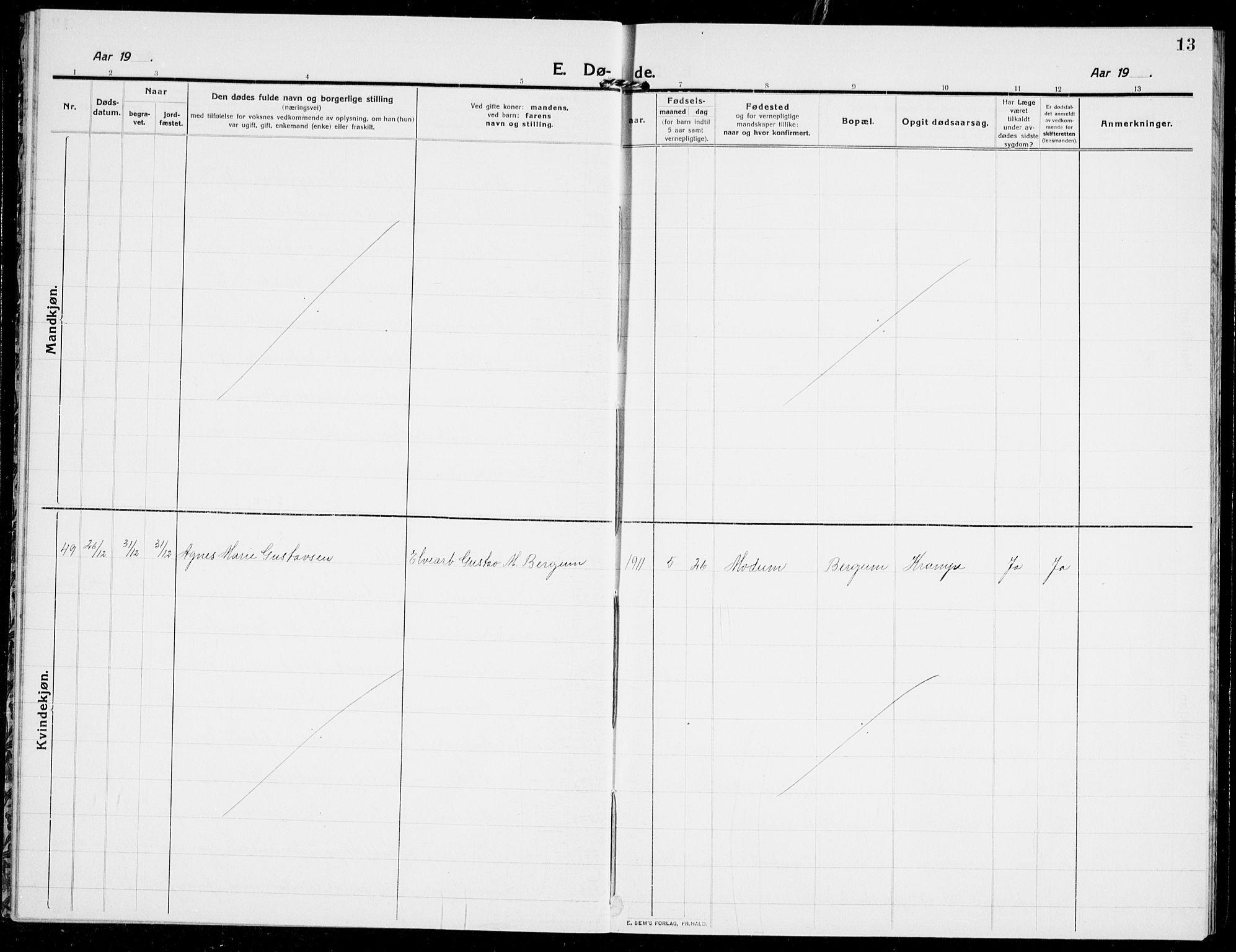 SAKO, Modum kirkebøker, G/Ga/L0011: Klokkerbok nr. I 11, 1910-1925, s. 13