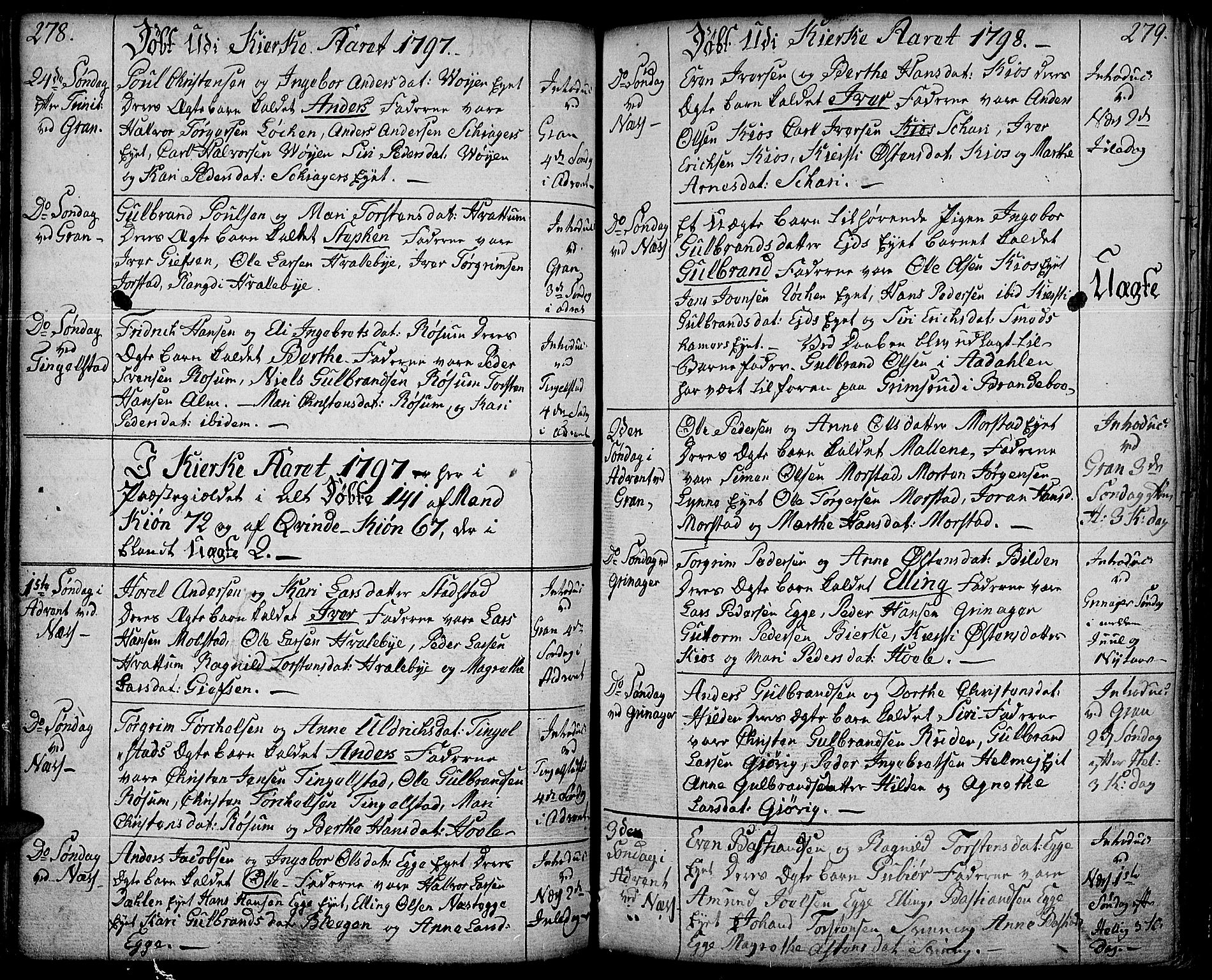 SAH, Gran prestekontor, Ministerialbok nr. 6, 1787-1824, s. 278-279