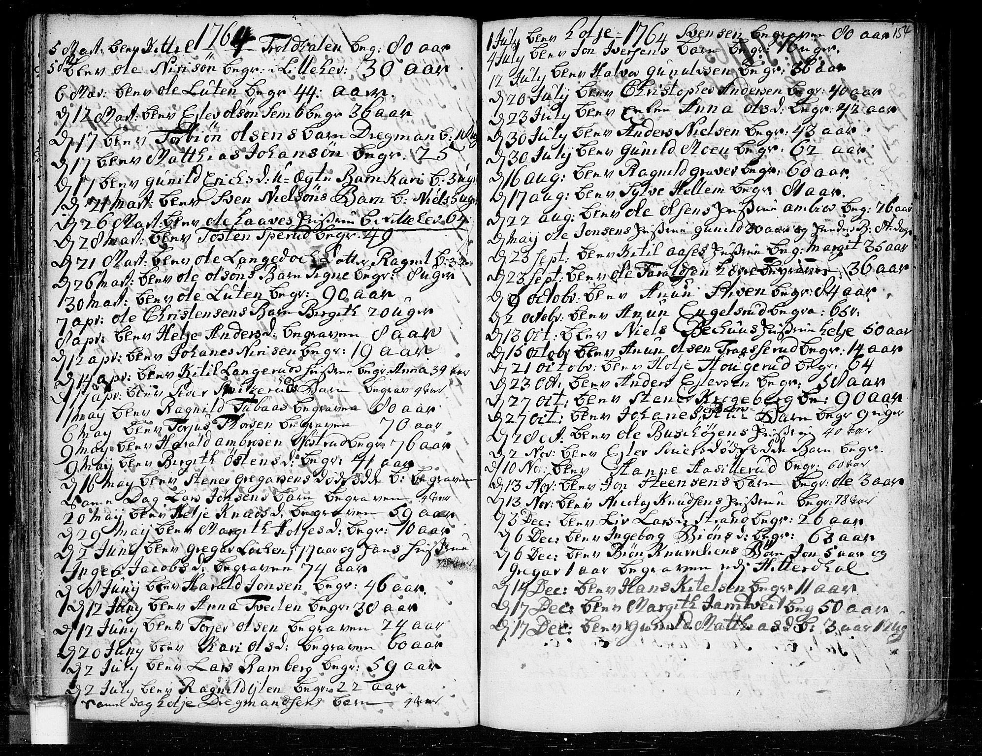 SAKO, Heddal kirkebøker, F/Fa/L0003: Ministerialbok nr. I 3, 1723-1783, s. 154