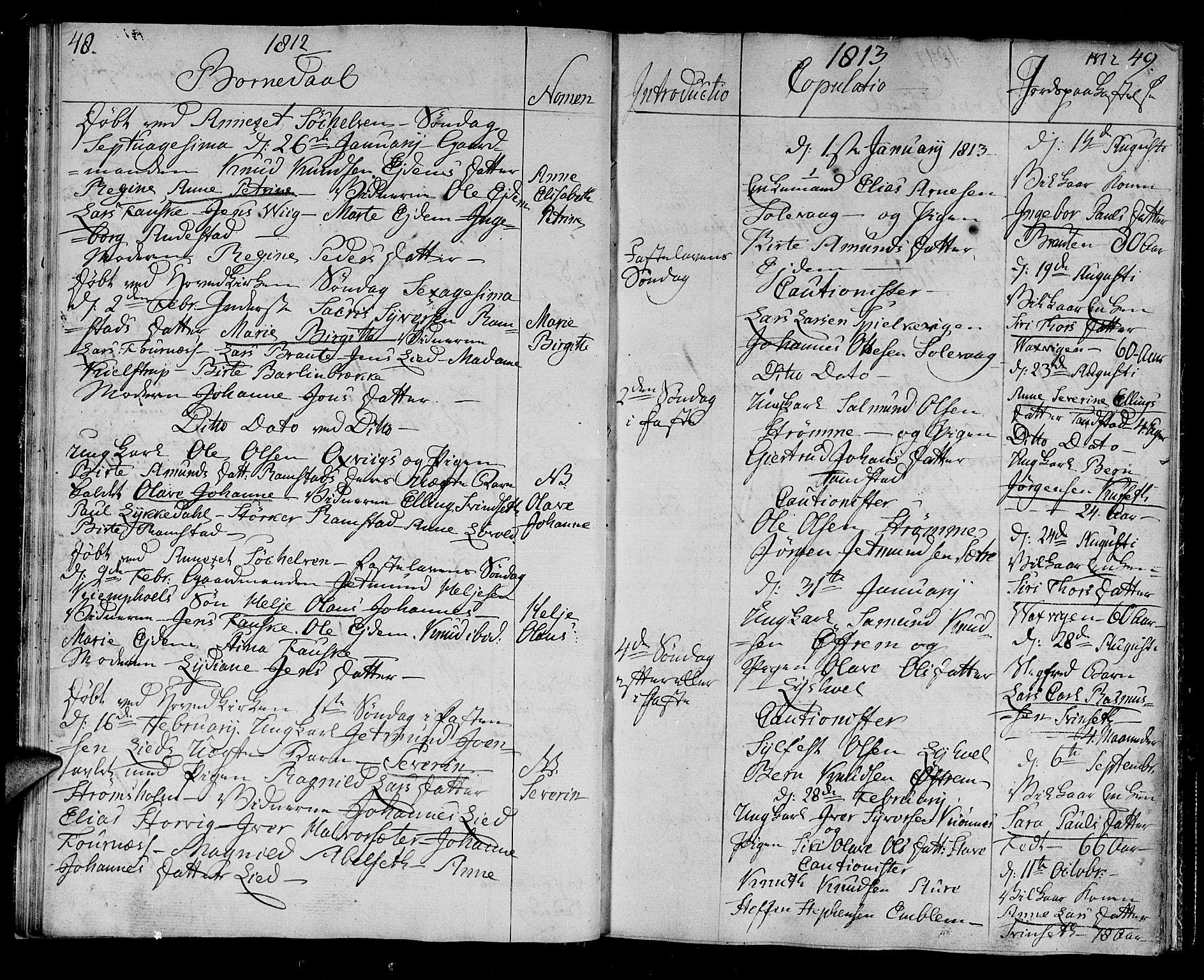 SAT, Ministerialprotokoller, klokkerbøker og fødselsregistre - Møre og Romsdal, 522/L0309: Ministerialbok nr. 522A04, 1810-1816, s. 48-49