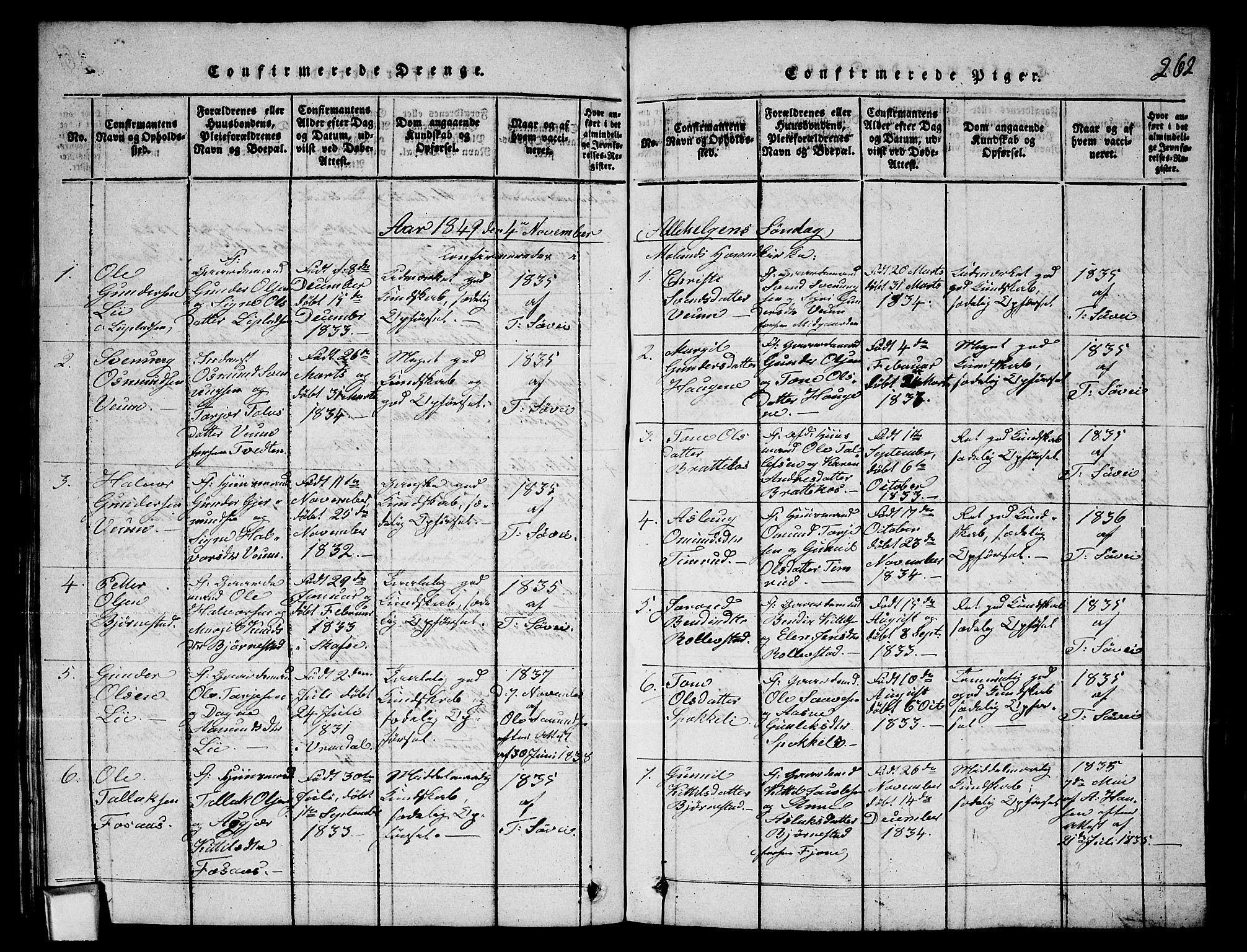 SAKO, Fyresdal kirkebøker, G/Ga/L0003: Klokkerbok nr. I 3, 1815-1863, s. 262