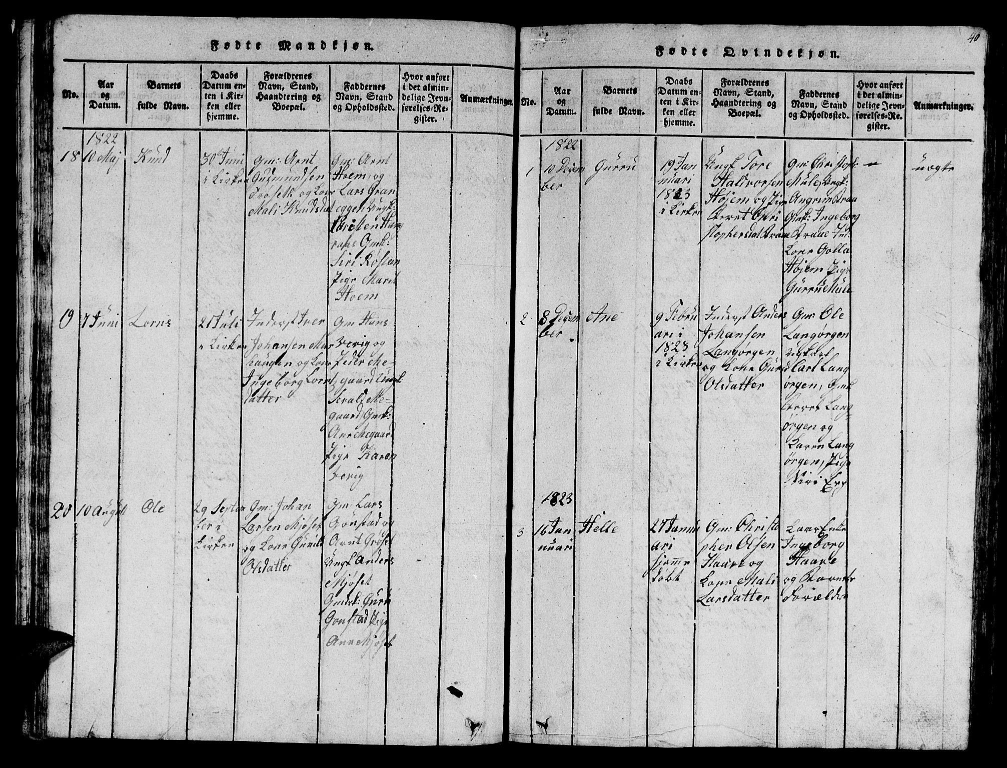 SAT, Ministerialprotokoller, klokkerbøker og fødselsregistre - Sør-Trøndelag, 612/L0385: Klokkerbok nr. 612C01, 1816-1845, s. 40