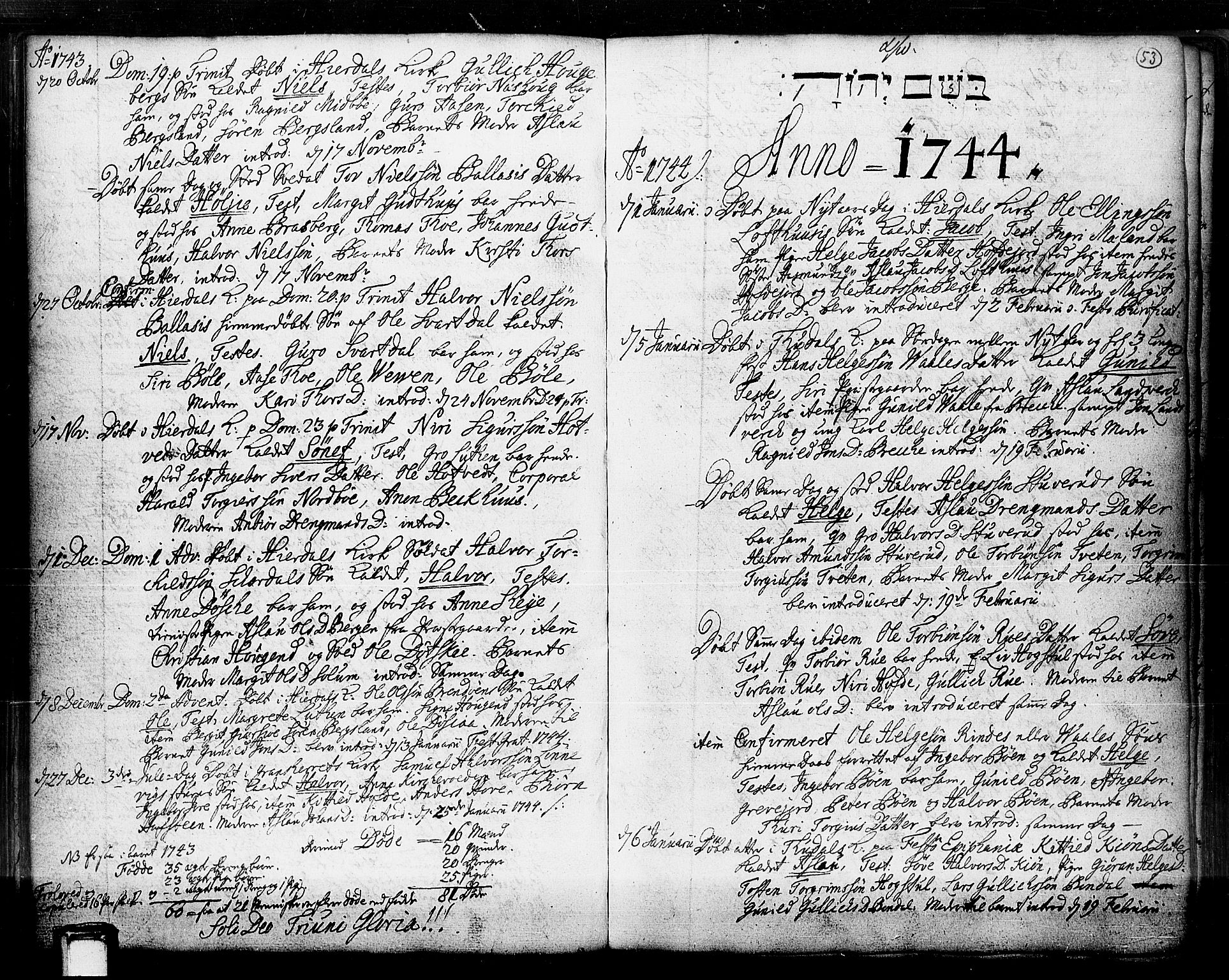 SAKO, Hjartdal kirkebøker, F/Fa/L0003: Ministerialbok nr. I 3, 1727-1775, s. 53