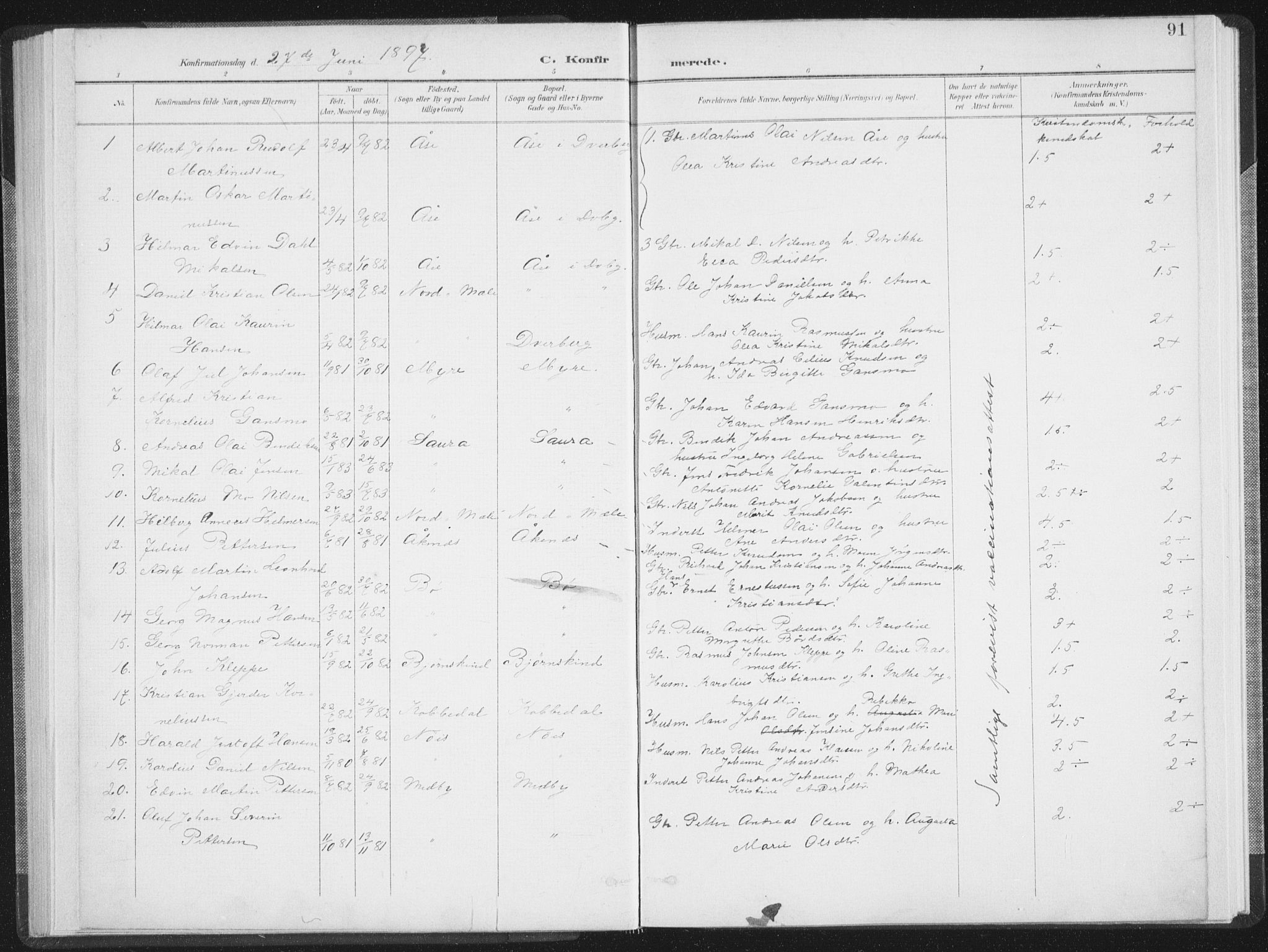 SAT, Ministerialprotokoller, klokkerbøker og fødselsregistre - Nordland, 897/L1400: Ministerialbok nr. 897A07, 1897-1908, s. 91
