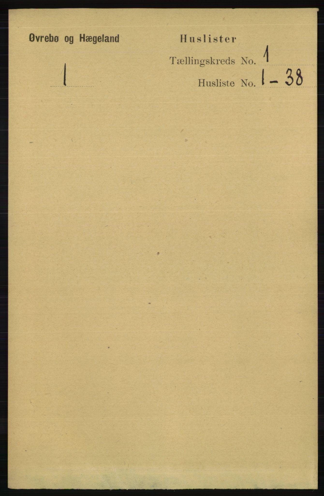 RA, Folketelling 1891 for 1016 Øvrebø og Hægeland herred, 1891, s. 27