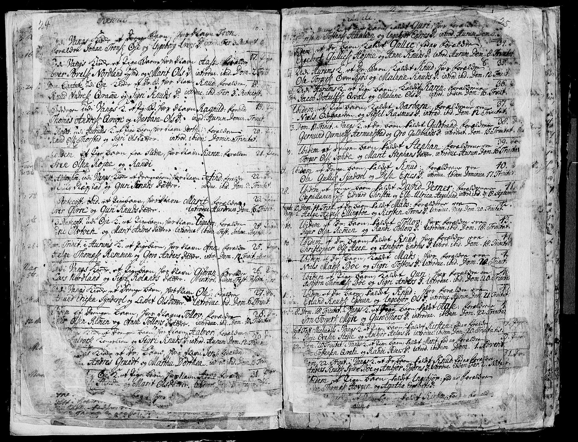 SAH, Vang prestekontor, Valdres, Ministerialbok nr. 1, 1730-1796, s. 24-25