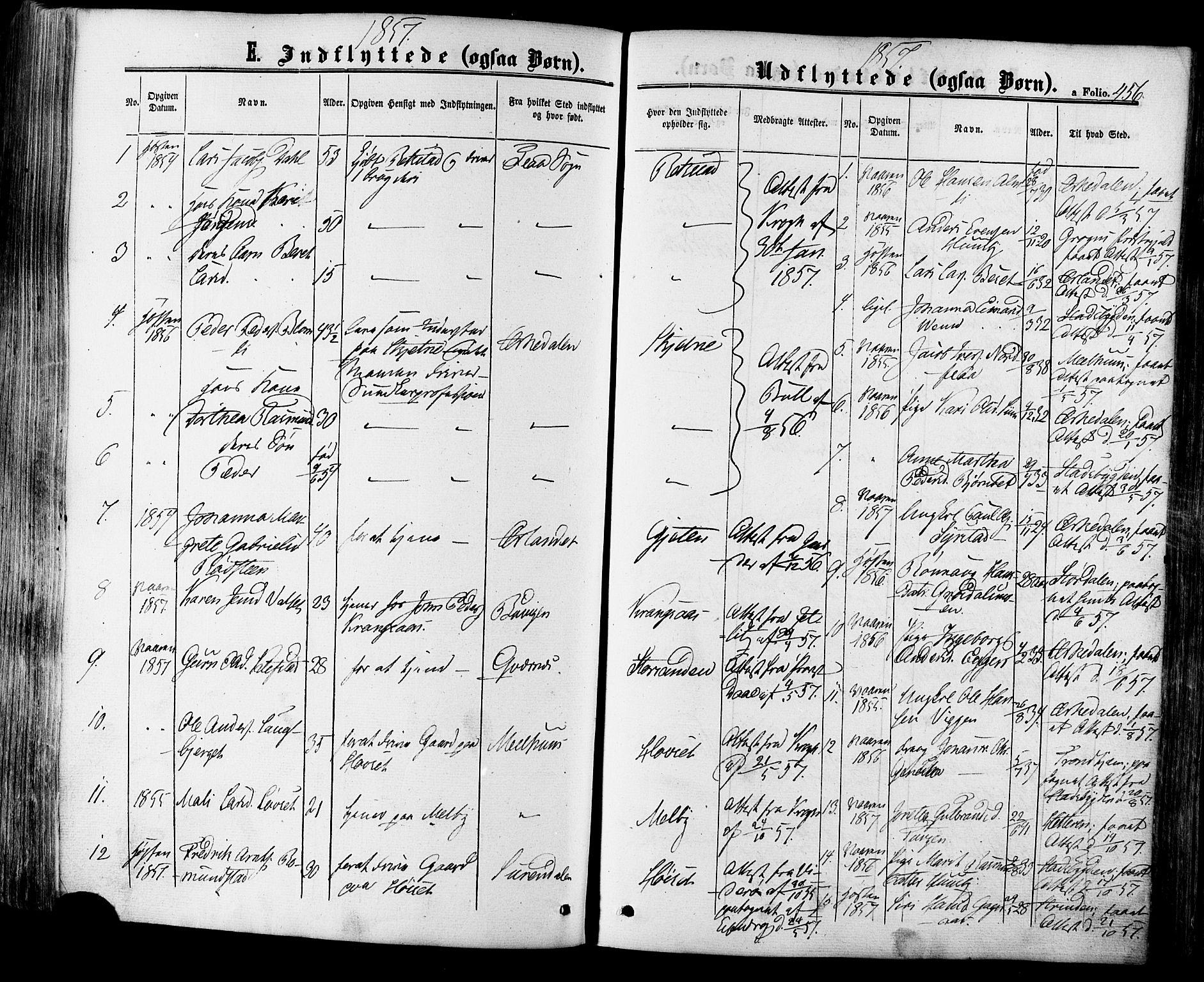 SAT, Ministerialprotokoller, klokkerbøker og fødselsregistre - Sør-Trøndelag, 665/L0772: Ministerialbok nr. 665A07, 1856-1878, s. 456