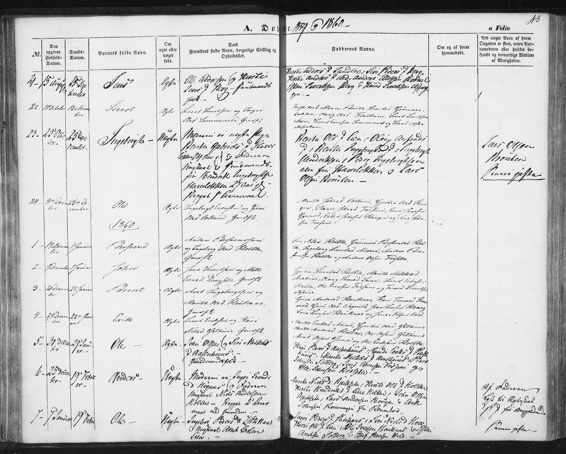 SAT, Ministerialprotokoller, klokkerbøker og fødselsregistre - Sør-Trøndelag, 689/L1038: Ministerialbok nr. 689A03, 1848-1872, s. 43