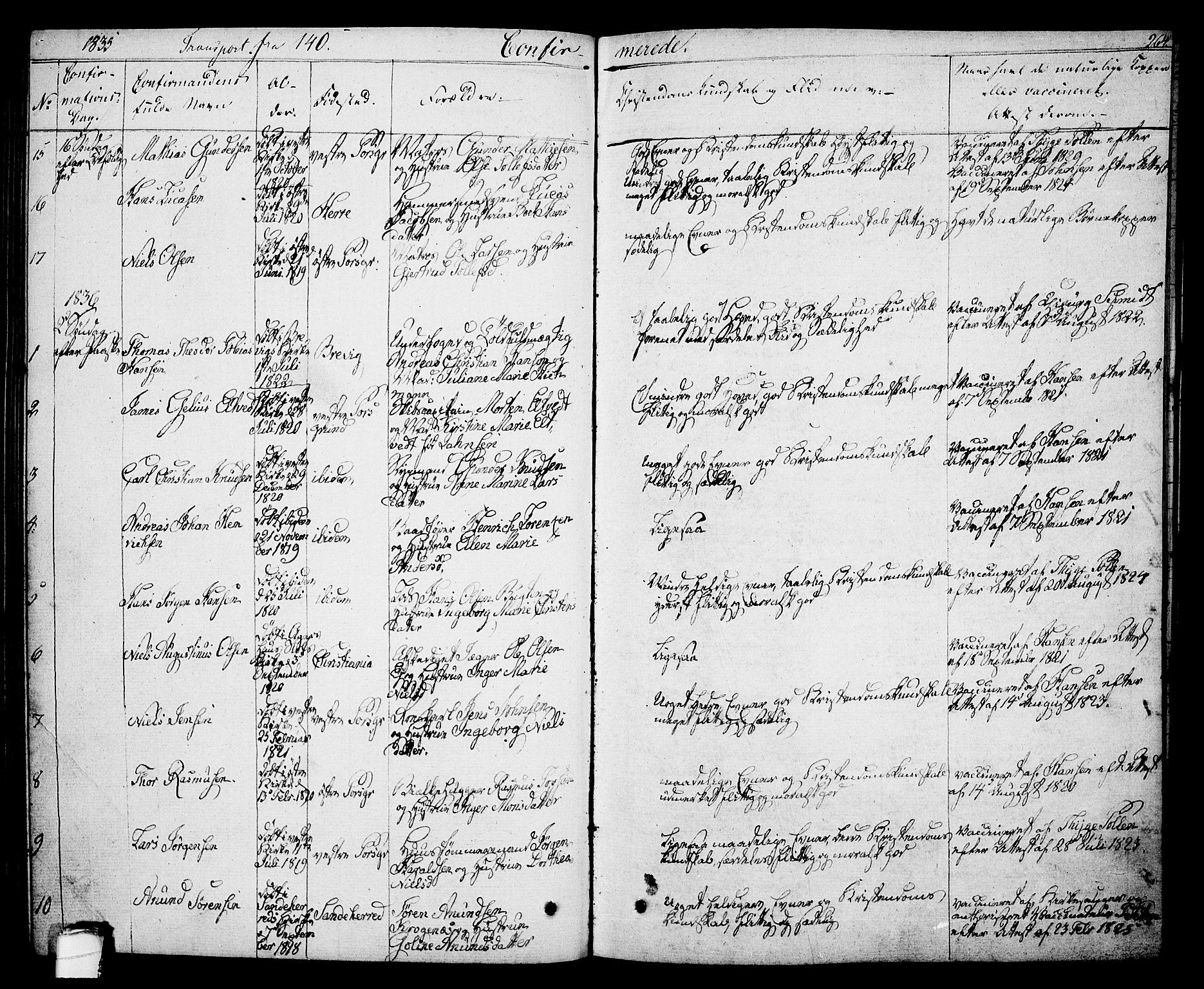 SAKO, Porsgrunn kirkebøker , F/Fa/L0005: Ministerialbok nr. 5, 1828-1840, s. 264