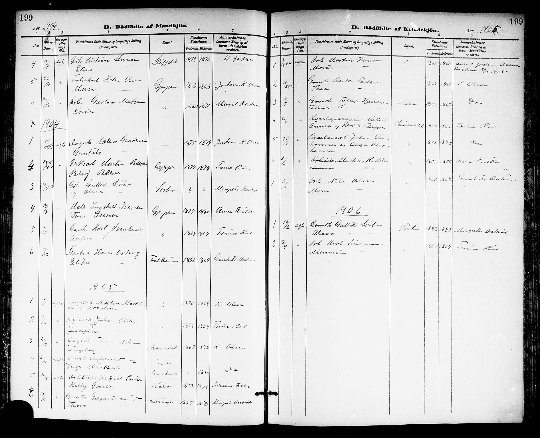 SAKO, Gjerpen kirkebøker, G/Ga/L0003: Klokkerbok nr. I 3, 1901-1919, s. 199