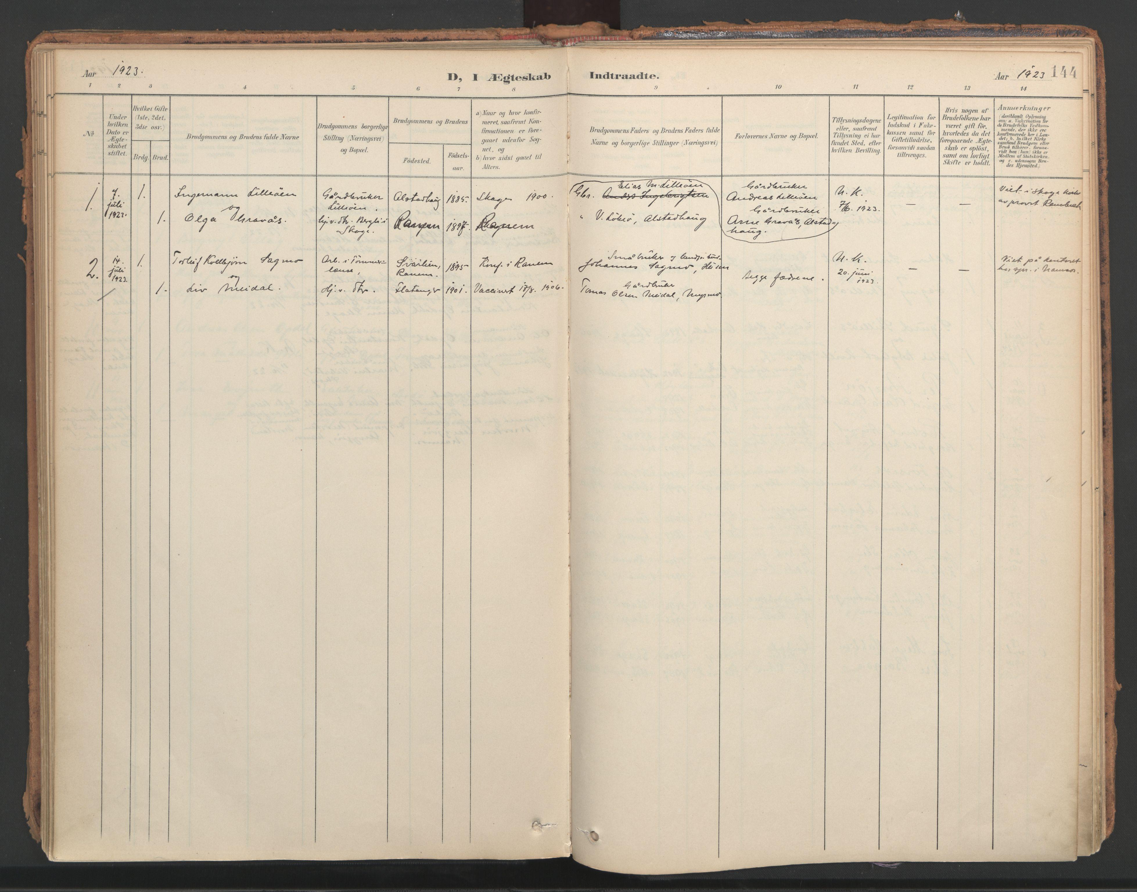 SAT, Ministerialprotokoller, klokkerbøker og fødselsregistre - Nord-Trøndelag, 766/L0564: Ministerialbok nr. 767A02, 1900-1932, s. 144