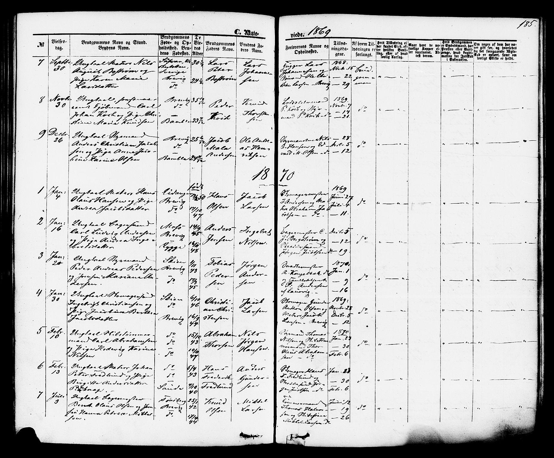 SAKO, Brevik kirkebøker, F/Fa/L0006: Ministerialbok nr. 6, 1866-1881, s. 185