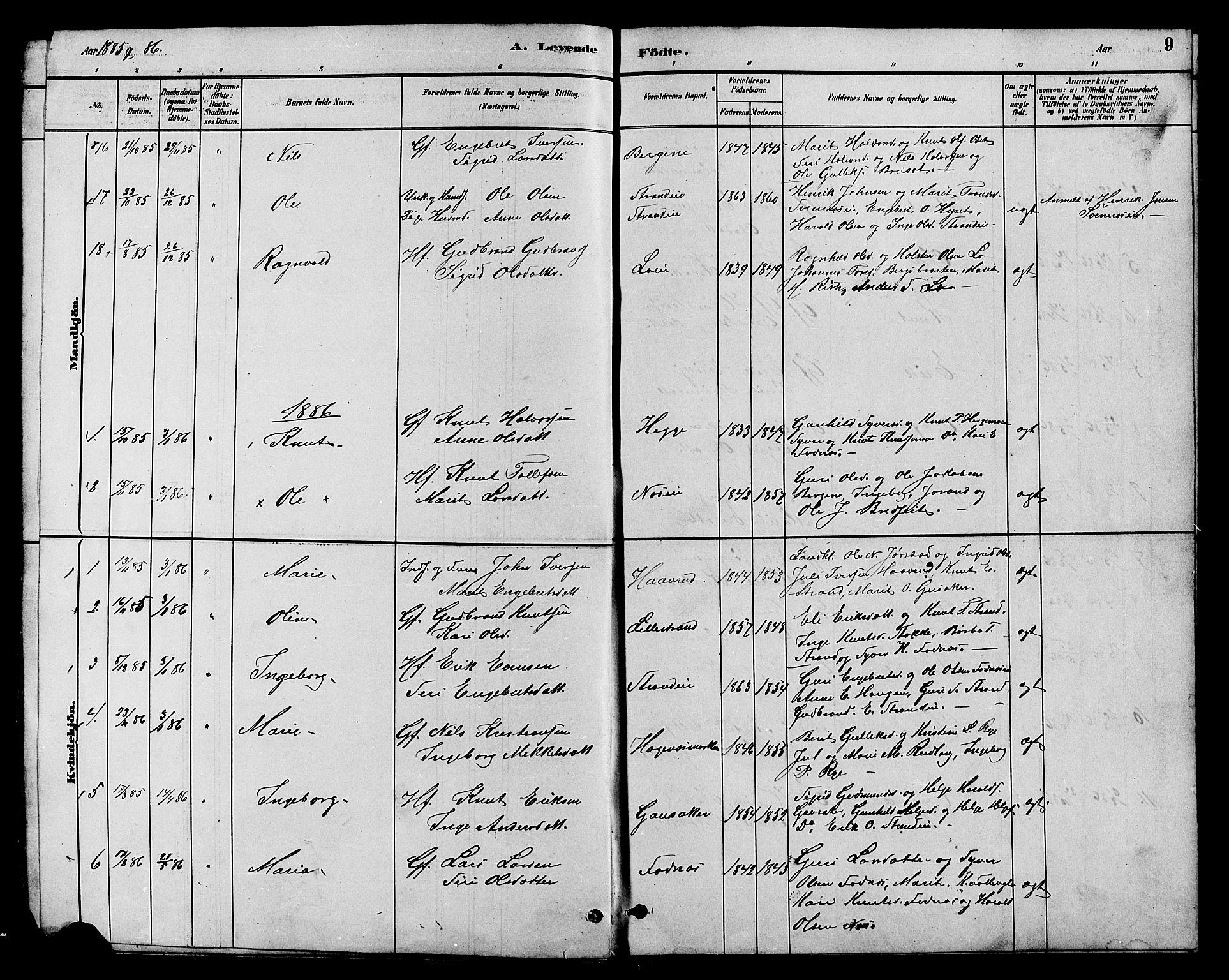 SAH, Nord-Aurdal prestekontor, Klokkerbok nr. 7, 1883-1910, s. 9