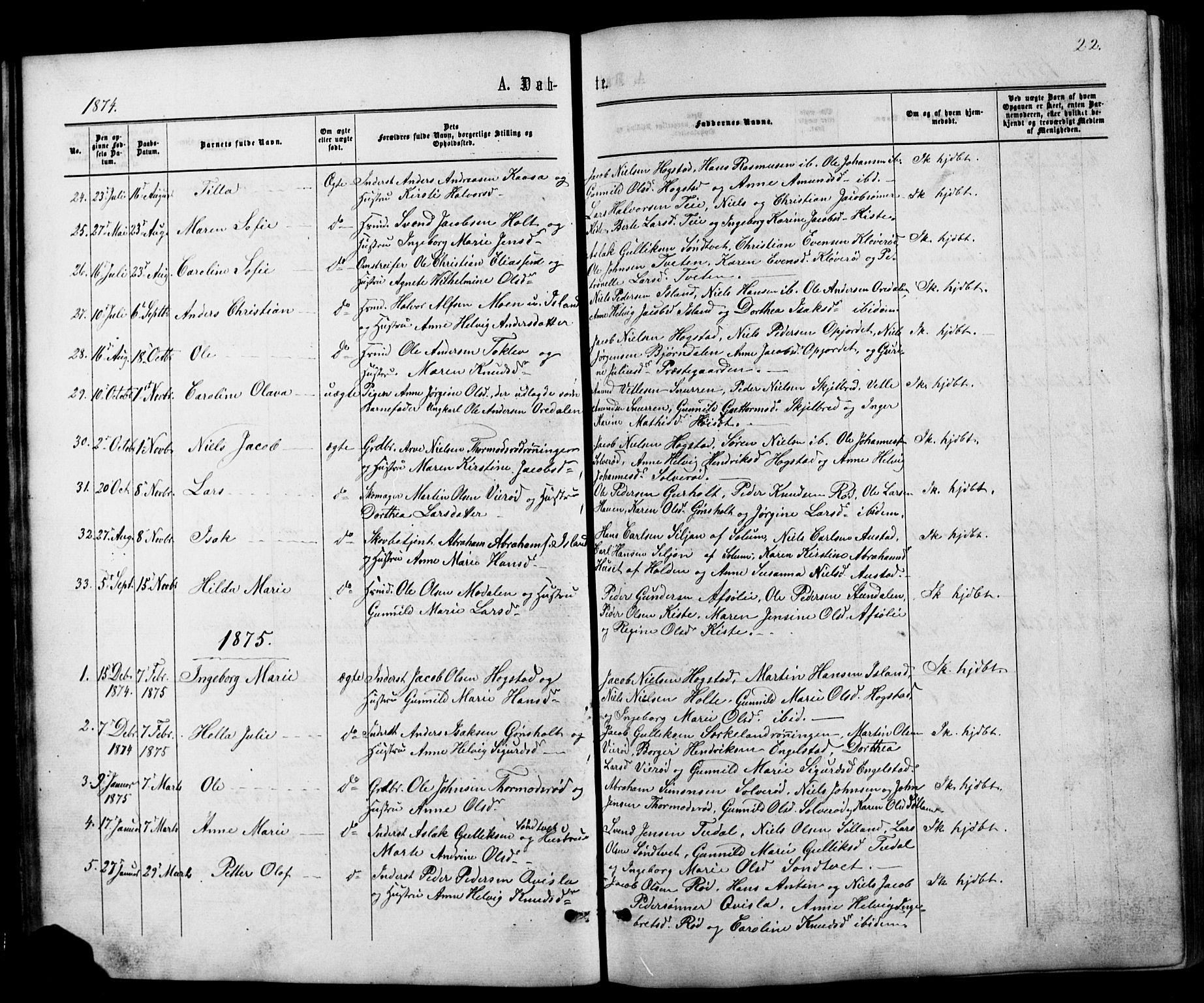 SAKO, Siljan kirkebøker, G/Ga/L0002: Klokkerbok nr. 2, 1864-1908, s. 22