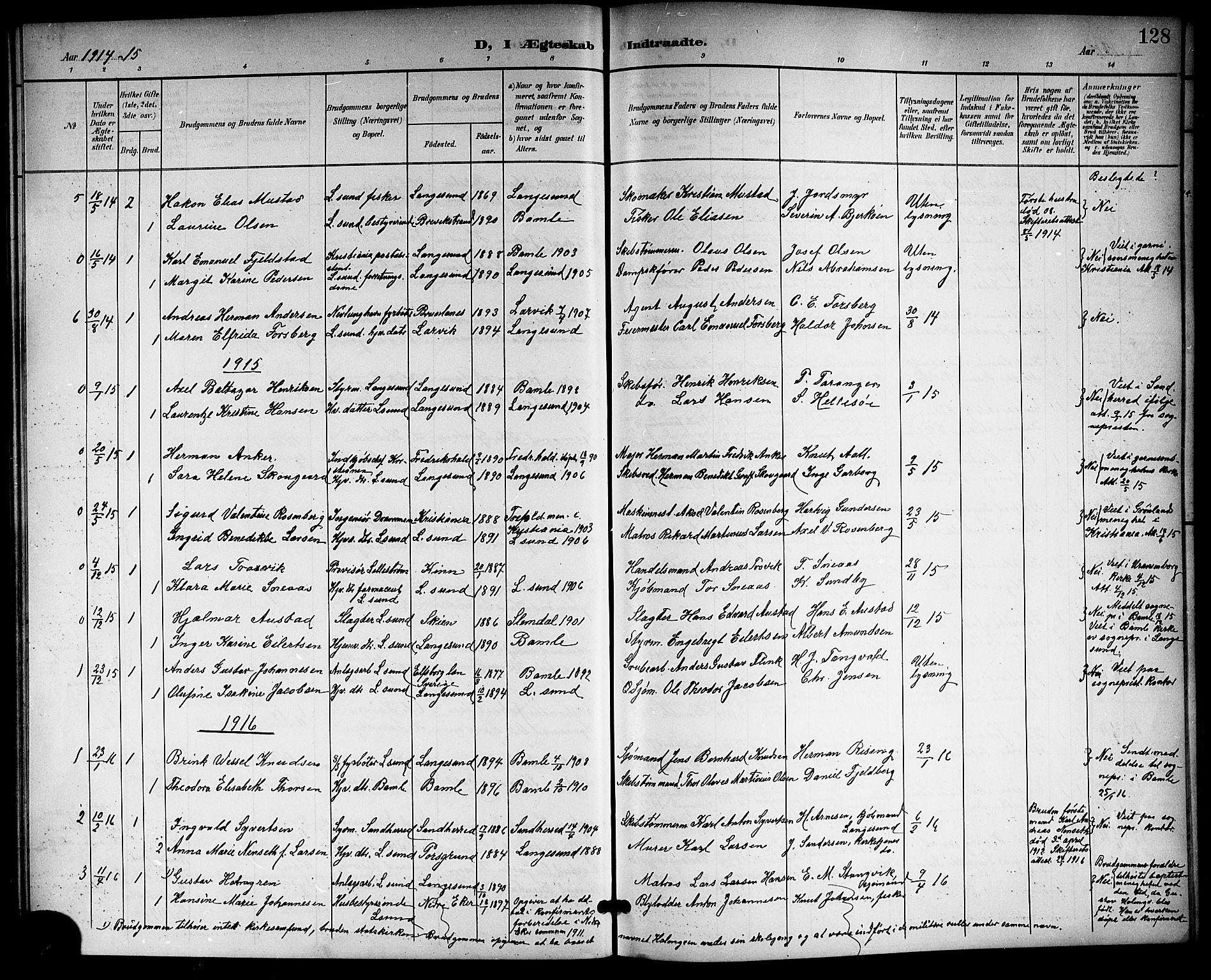 SAKO, Langesund kirkebøker, G/Ga/L0006: Klokkerbok nr. 6, 1899-1918, s. 128