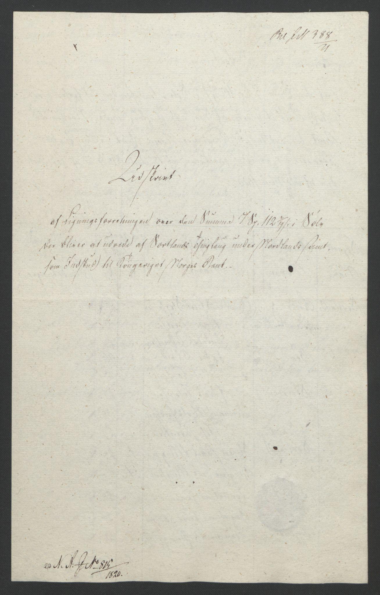 NOBA, Norges Bank/Sølvskatten 1816*, 1816-1821, s. 62