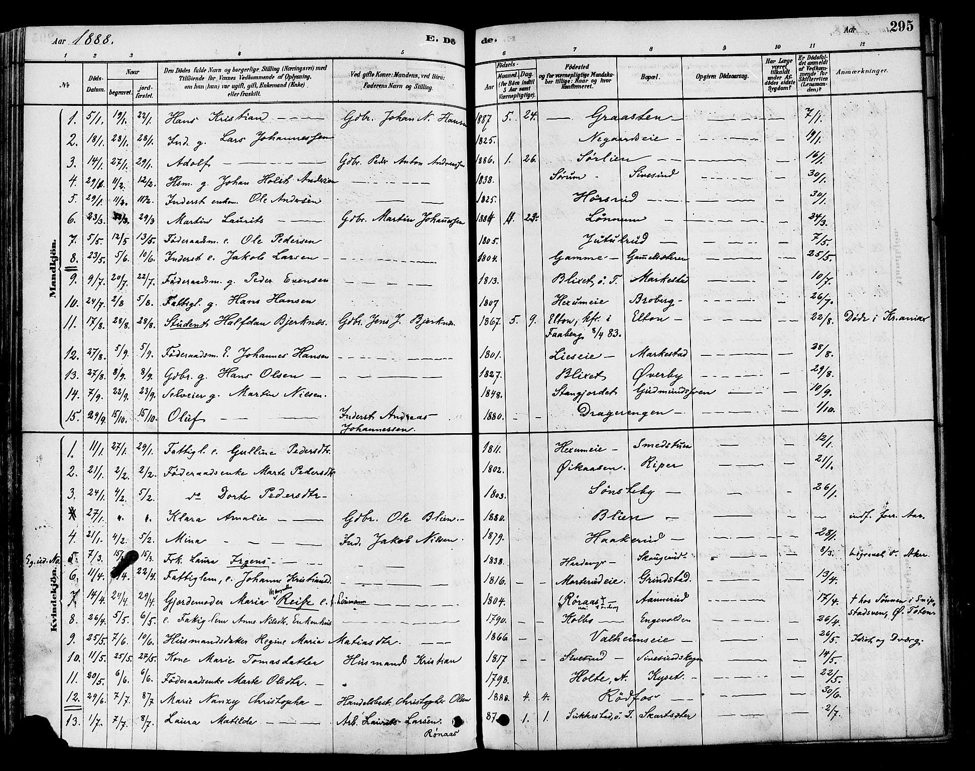 SAH, Vestre Toten prestekontor, H/Ha/Haa/L0009: Ministerialbok nr. 9, 1878-1894, s. 295