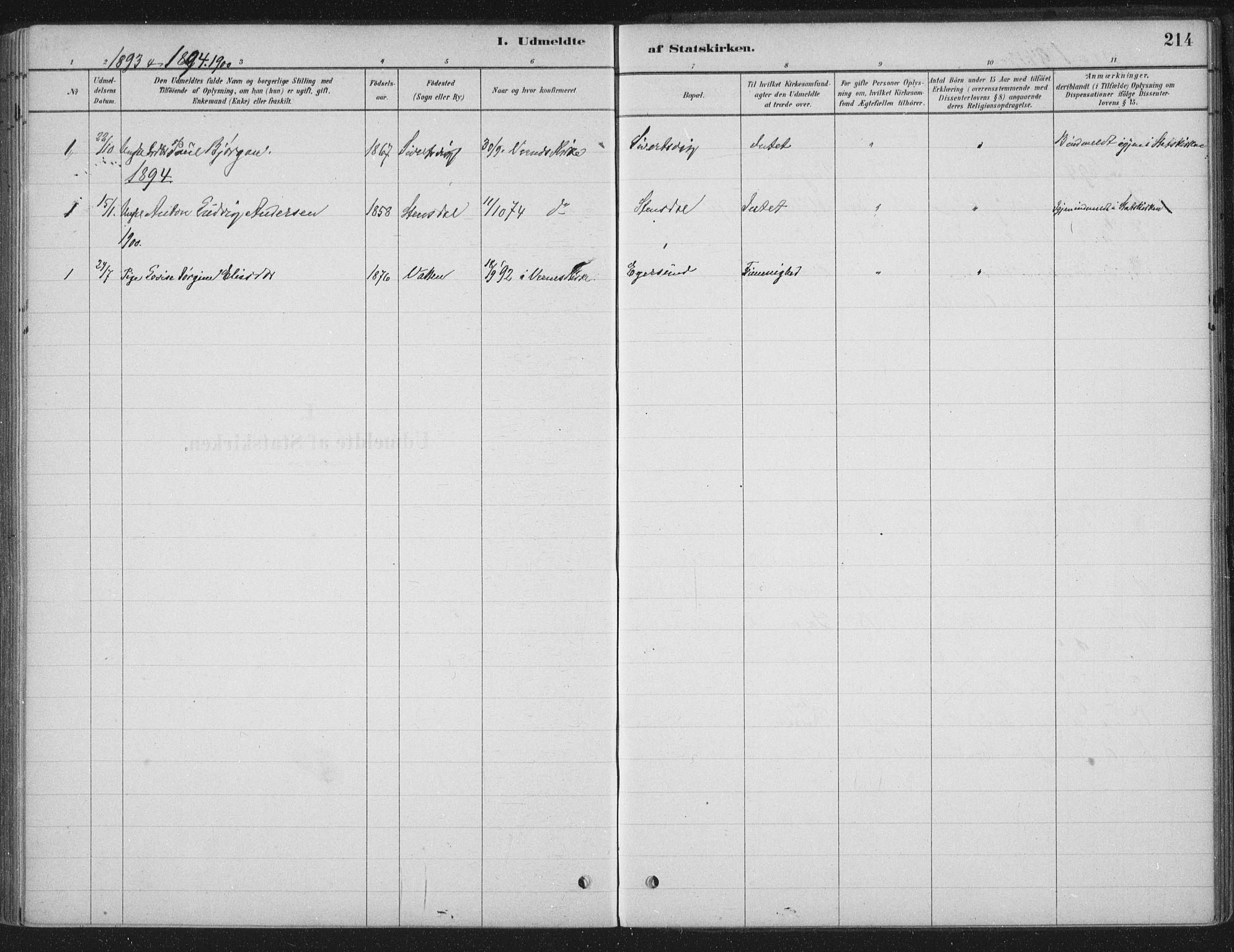 SAT, Ministerialprotokoller, klokkerbøker og fødselsregistre - Sør-Trøndelag, 662/L0755: Ministerialbok nr. 662A01, 1879-1905, s. 214