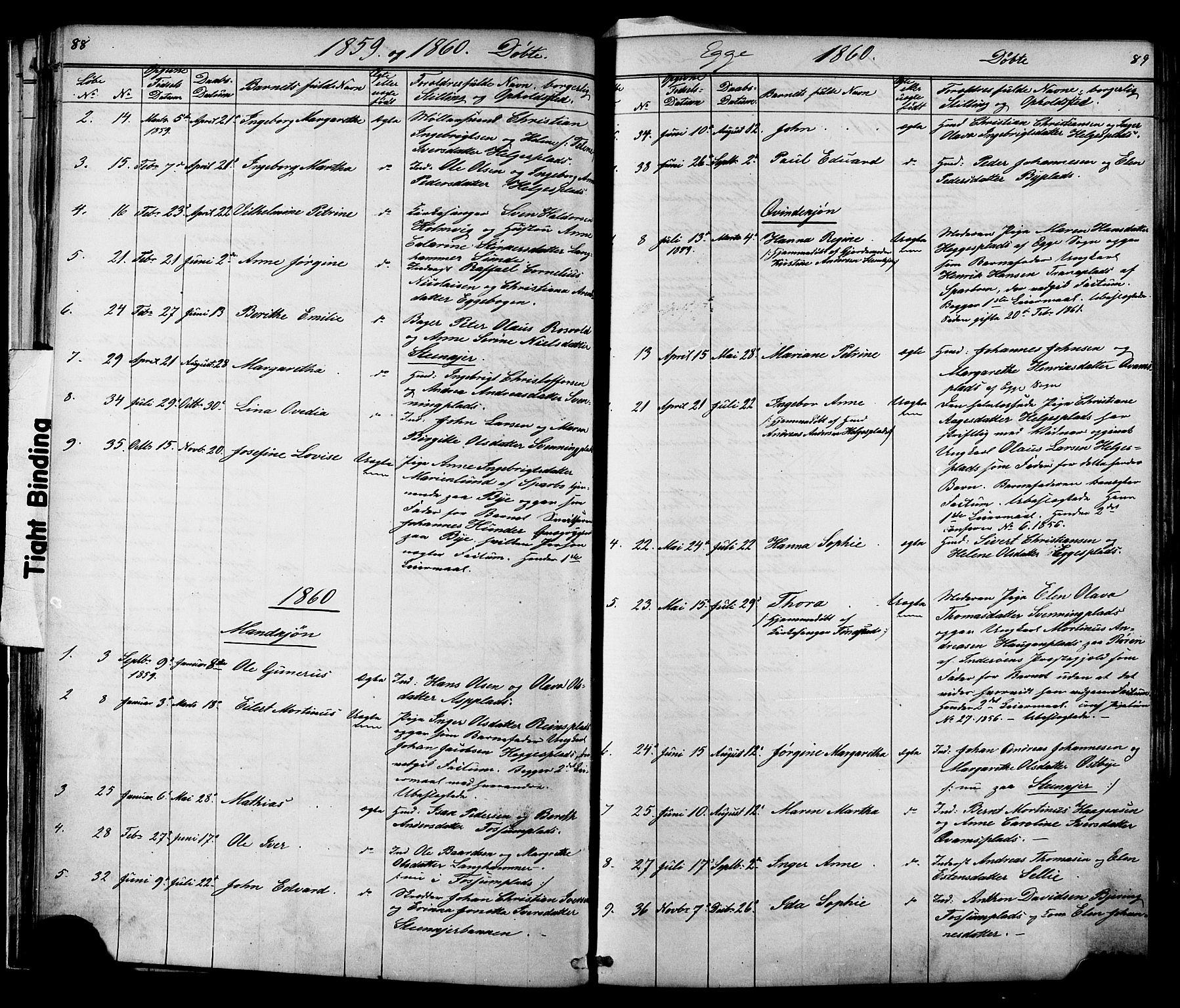SAT, Ministerialprotokoller, klokkerbøker og fødselsregistre - Nord-Trøndelag, 739/L0367: Ministerialbok nr. 739A01 /3, 1838-1868, s. 88-89
