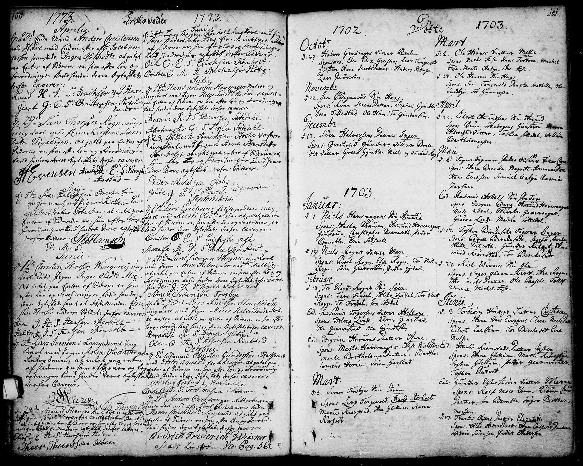 SAKO, Bamble kirkebøker, F/Fa/L0001: Ministerialbok nr. I 1, 1702-1774, s. 100-101