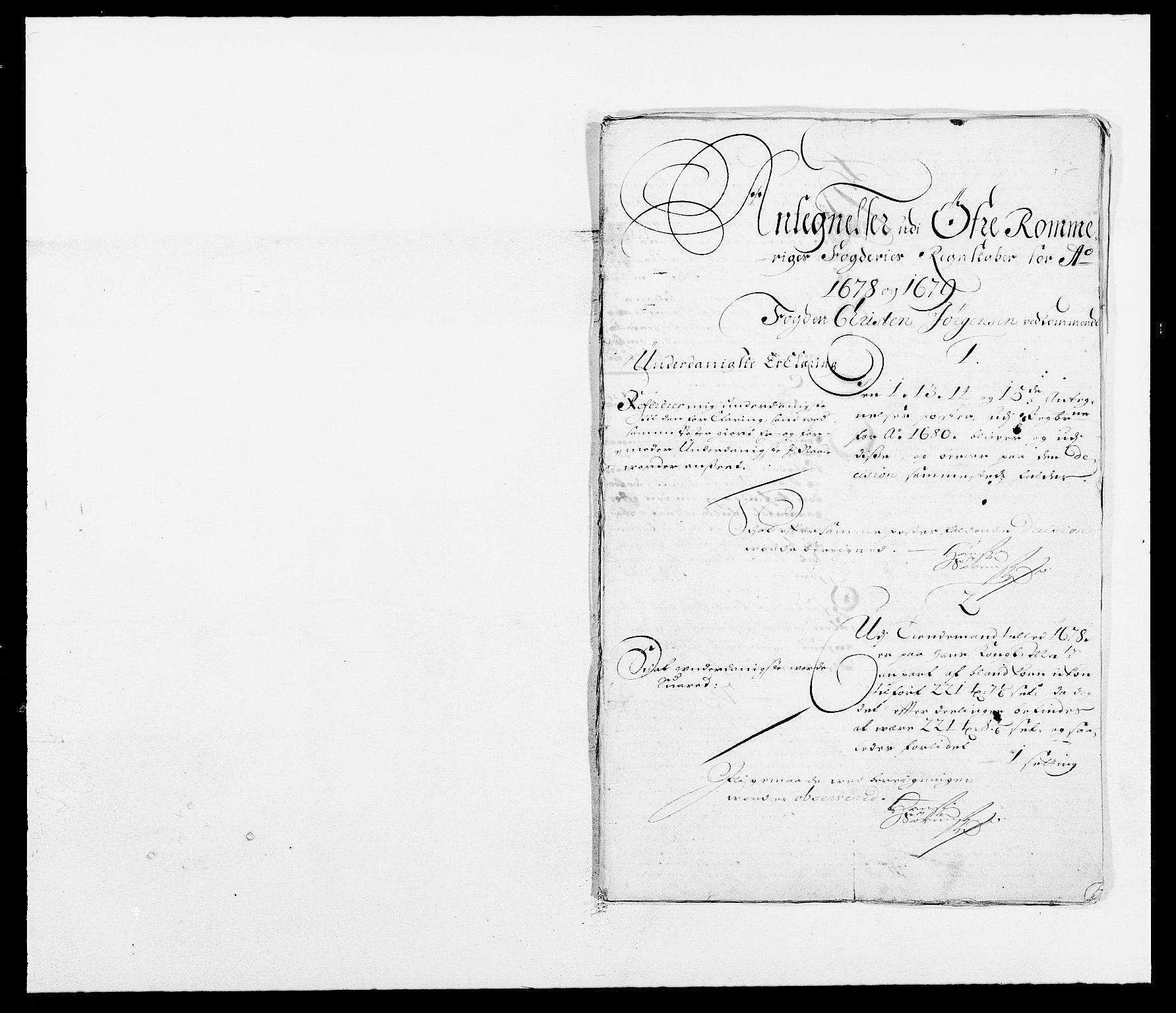 RA, Rentekammeret inntil 1814, Reviderte regnskaper, Fogderegnskap, R12/L0694: Fogderegnskap Øvre Romerike, 1678-1679, s. 266