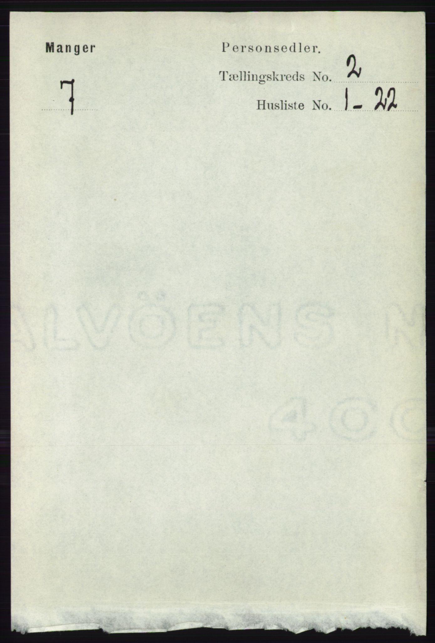 RA, Folketelling 1891 for 1261 Manger herred, 1891, s. 756