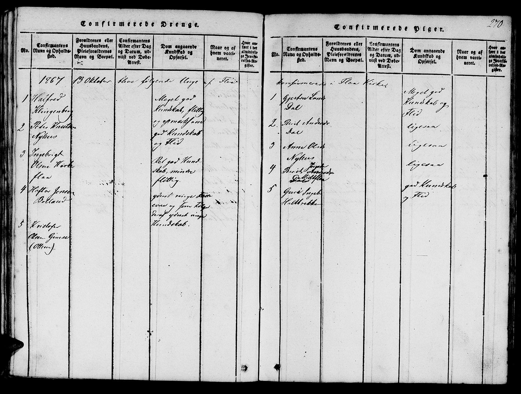 SAT, Ministerialprotokoller, klokkerbøker og fødselsregistre - Sør-Trøndelag, 693/L1121: Klokkerbok nr. 693C02, 1816-1869, s. 270