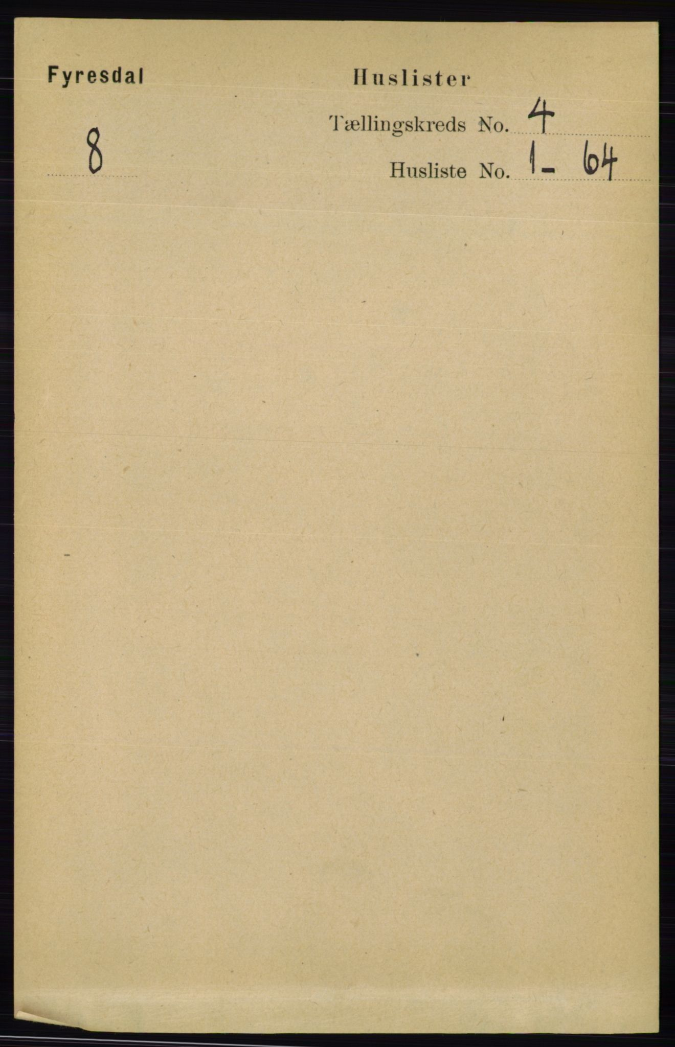 RA, Folketelling 1891 for 0831 Fyresdal herred, 1891, s. 741