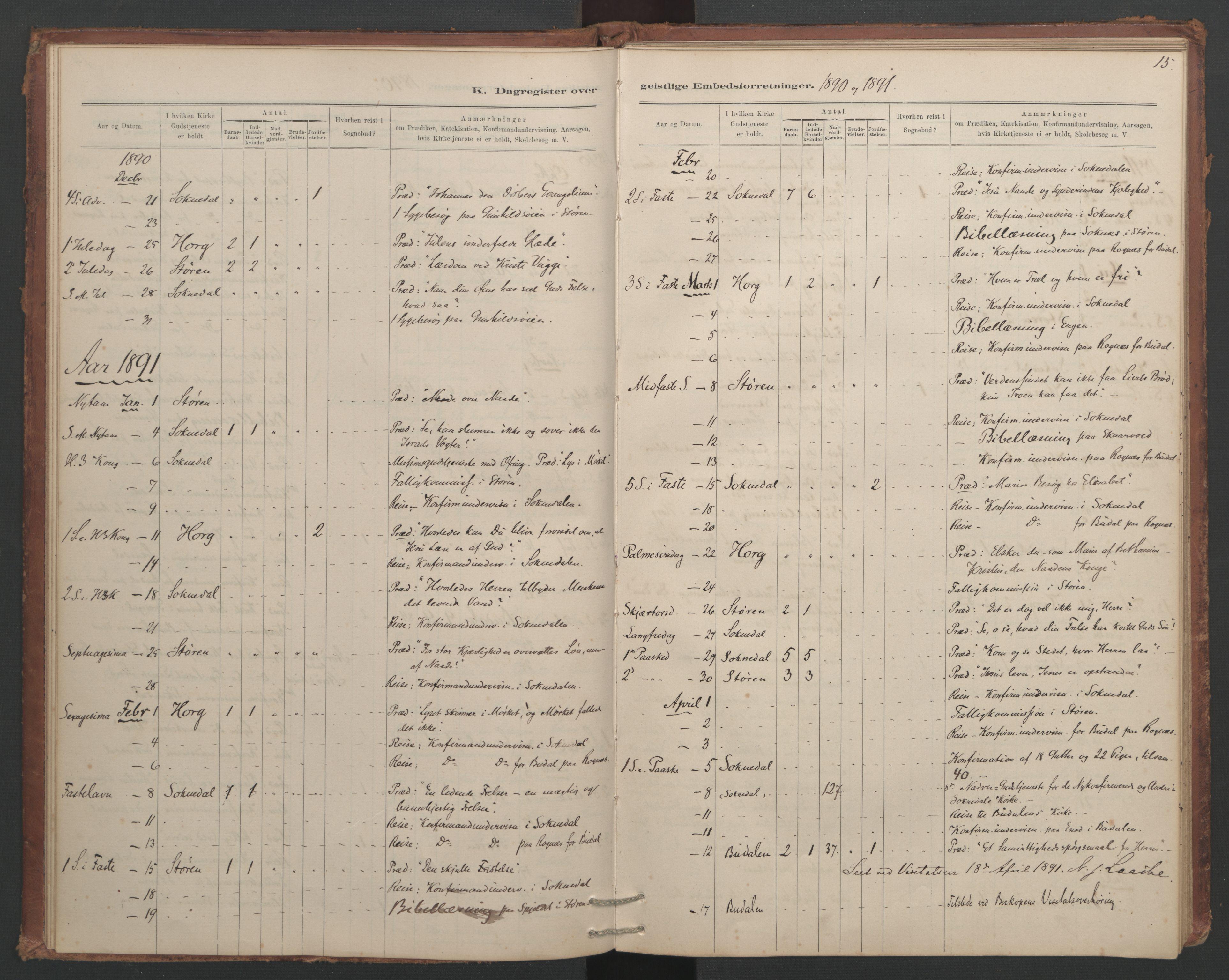 SAT, Ministerialprotokoller, klokkerbøker og fødselsregistre - Sør-Trøndelag, 687/L1012: Dagregister nr. 687B01, 1887-1914, s. 15