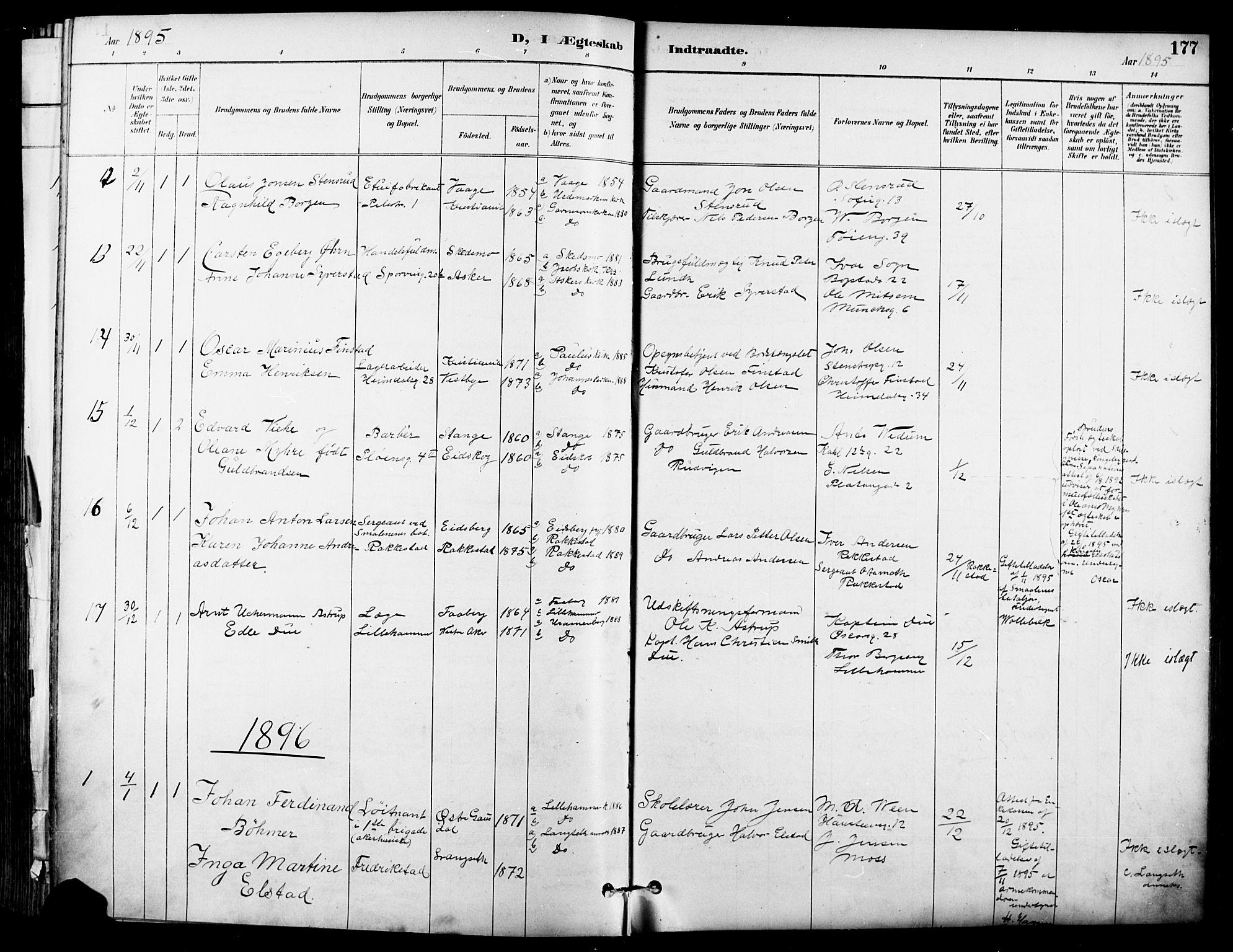 SAO, Garnisonsmenigheten Kirkebøker, F/Fa/L0013: Ministerialbok nr. 13, 1894-1904, s. 177