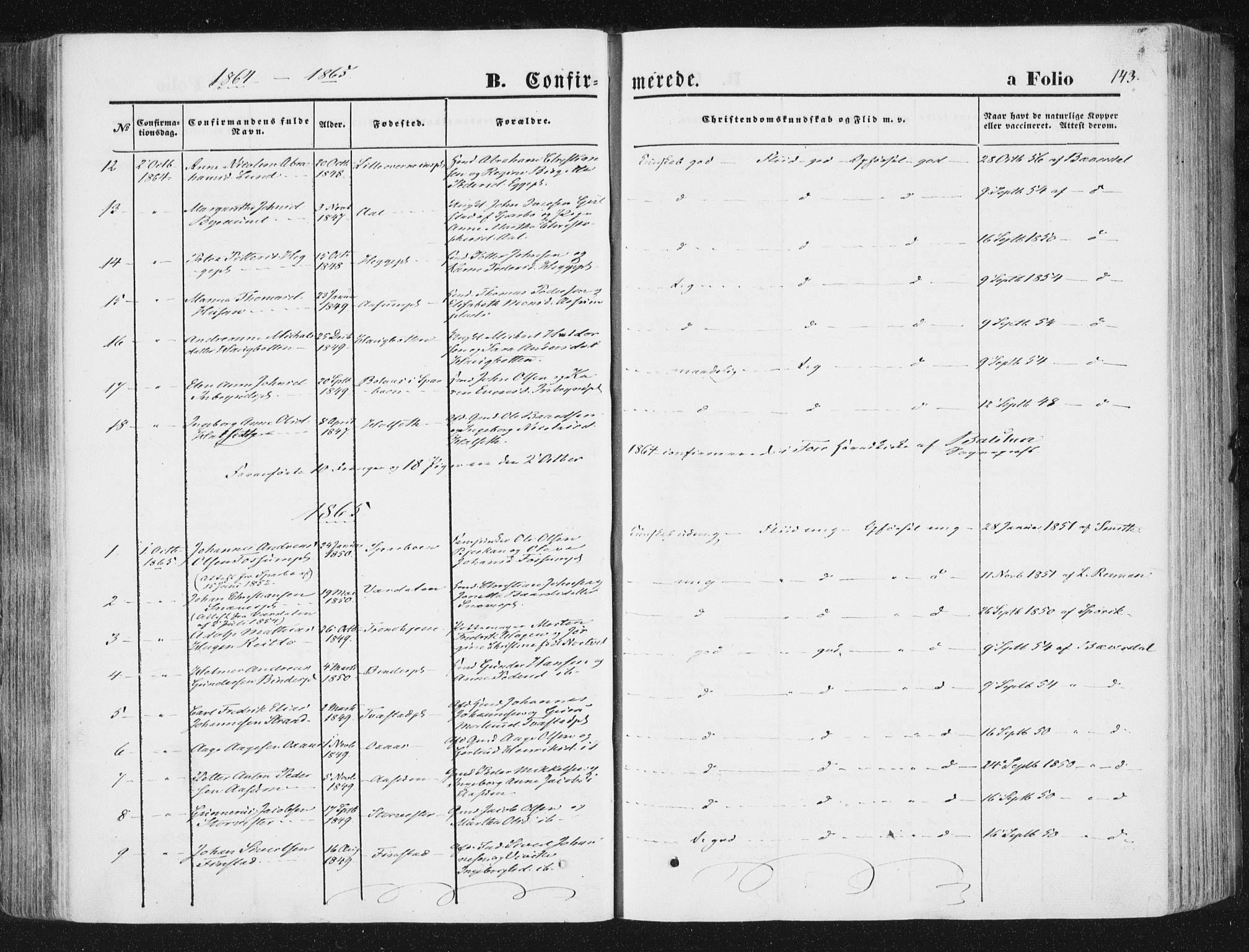SAT, Ministerialprotokoller, klokkerbøker og fødselsregistre - Nord-Trøndelag, 746/L0447: Ministerialbok nr. 746A06, 1860-1877, s. 143