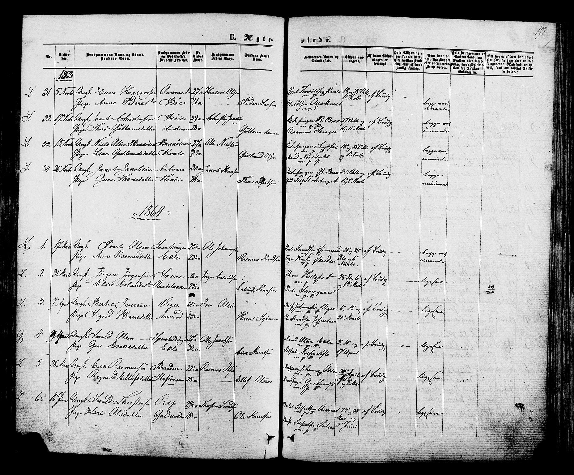 SAH, Lom prestekontor, K/L0007: Ministerialbok nr. 7, 1863-1884, s. 171