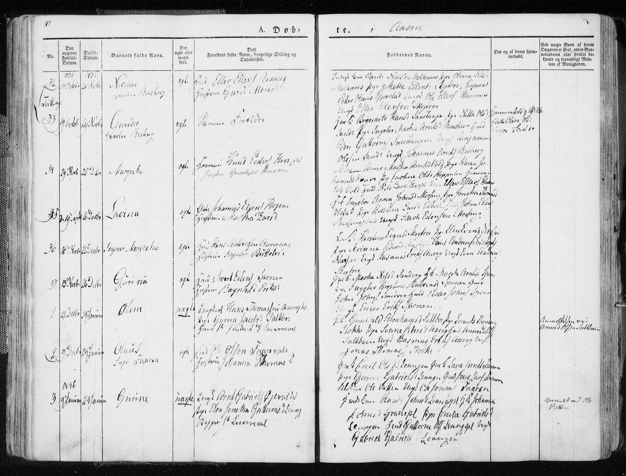 SAT, Ministerialprotokoller, klokkerbøker og fødselsregistre - Nord-Trøndelag, 713/L0114: Ministerialbok nr. 713A05, 1827-1839, s. 110
