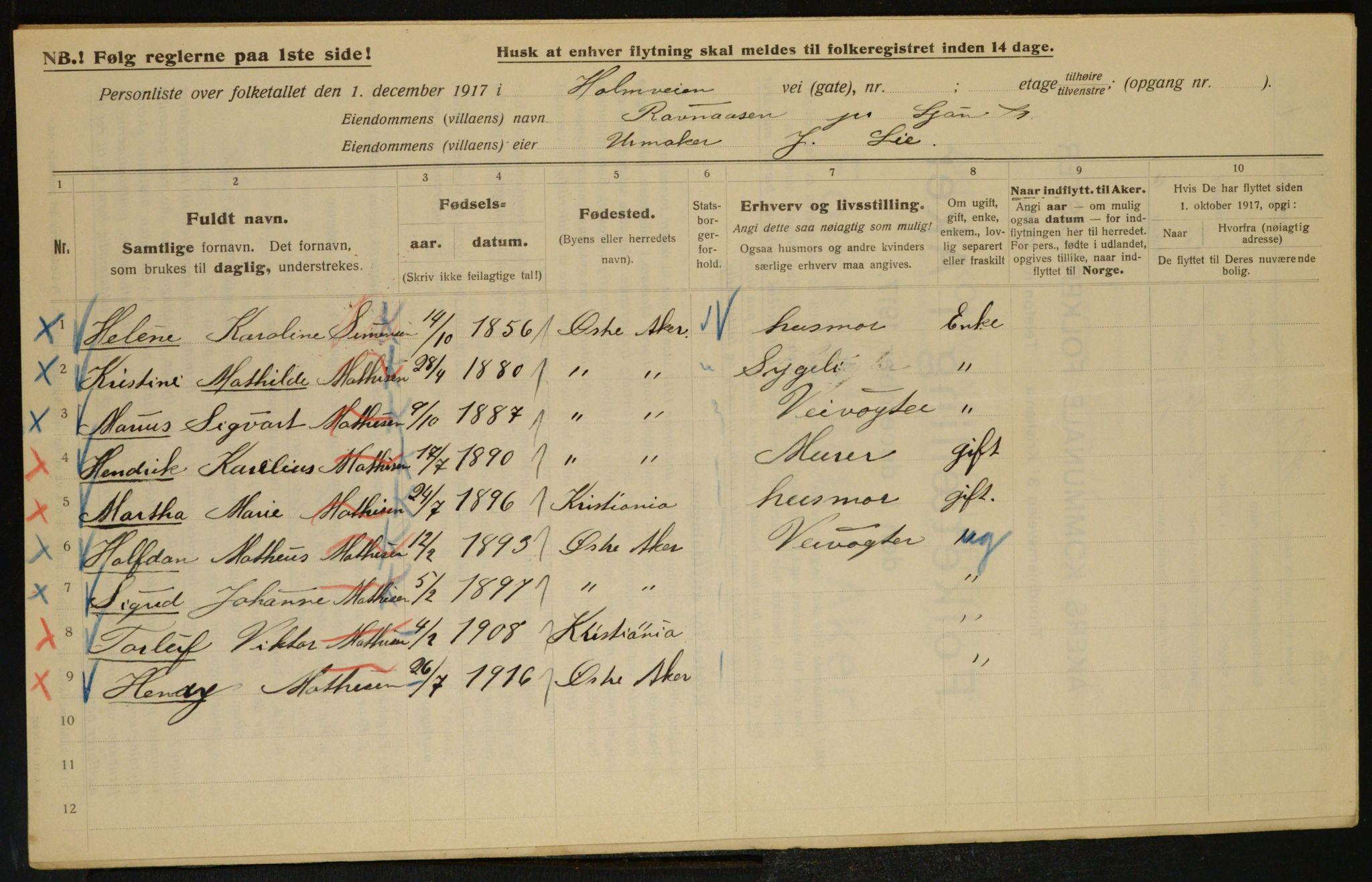 OBA, Kommunal folketelling 1917 for Aker, 1917, s. 16344