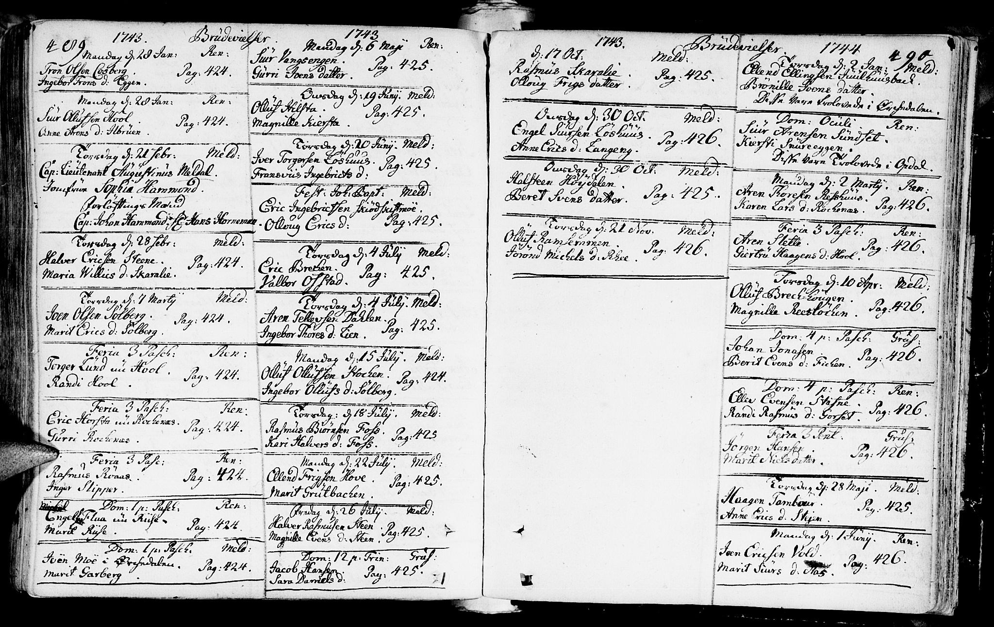SAT, Ministerialprotokoller, klokkerbøker og fødselsregistre - Sør-Trøndelag, 672/L0850: Ministerialbok nr. 672A03, 1725-1751, s. 489-490