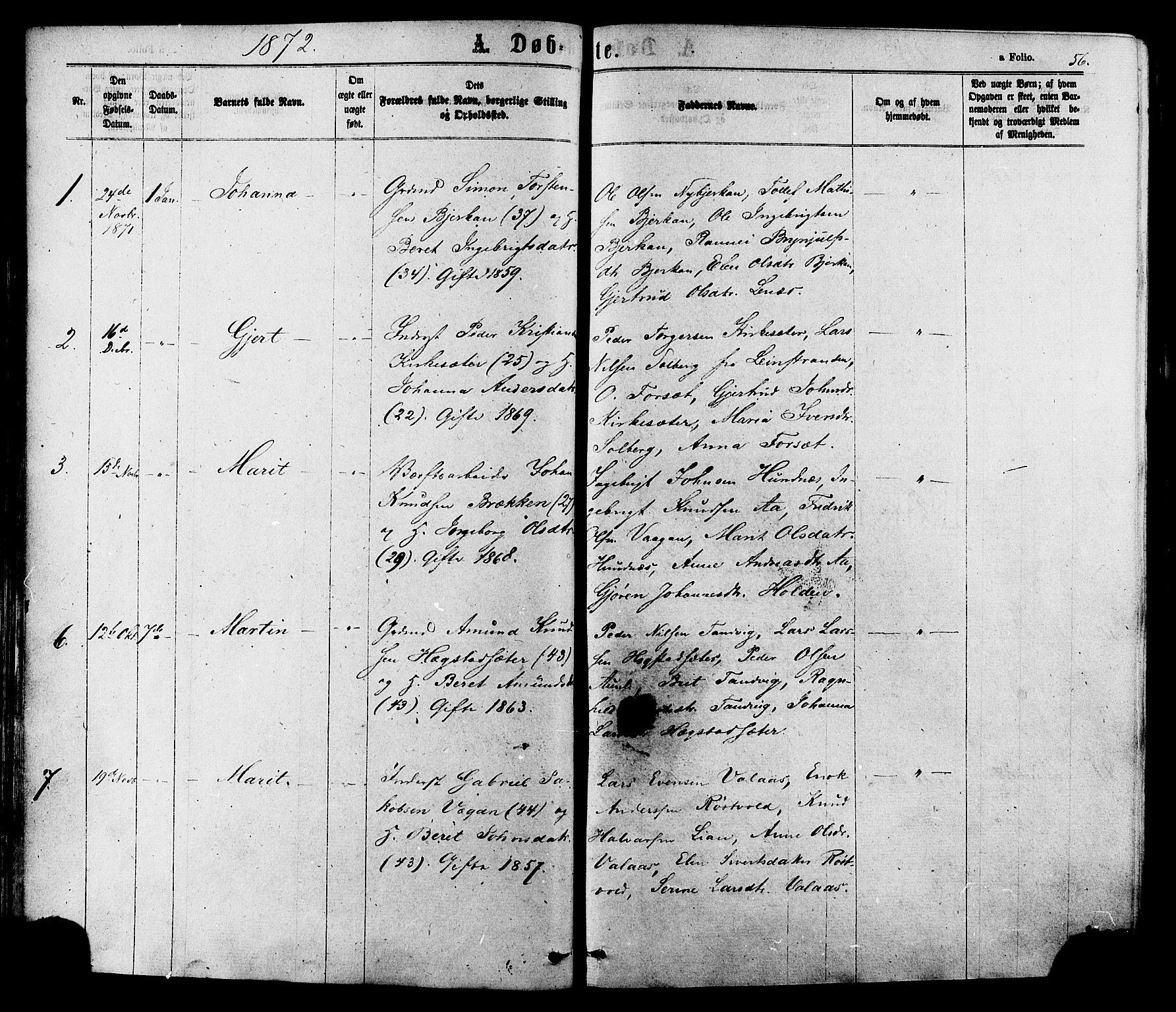 SAT, Ministerialprotokoller, klokkerbøker og fødselsregistre - Sør-Trøndelag, 630/L0495: Ministerialbok nr. 630A08, 1868-1878, s. 56