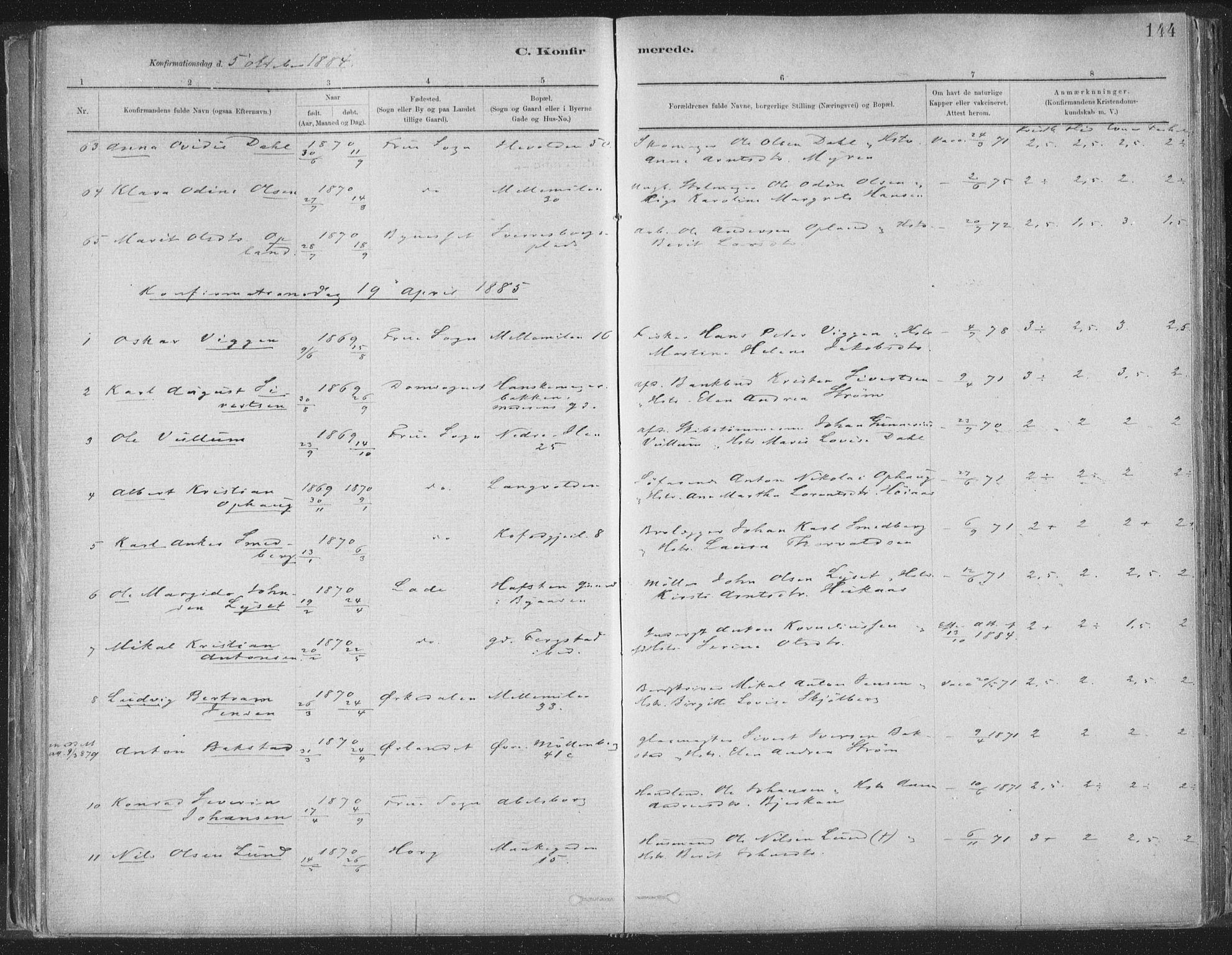 SAT, Ministerialprotokoller, klokkerbøker og fødselsregistre - Sør-Trøndelag, 603/L0162: Ministerialbok nr. 603A01, 1879-1895, s. 144