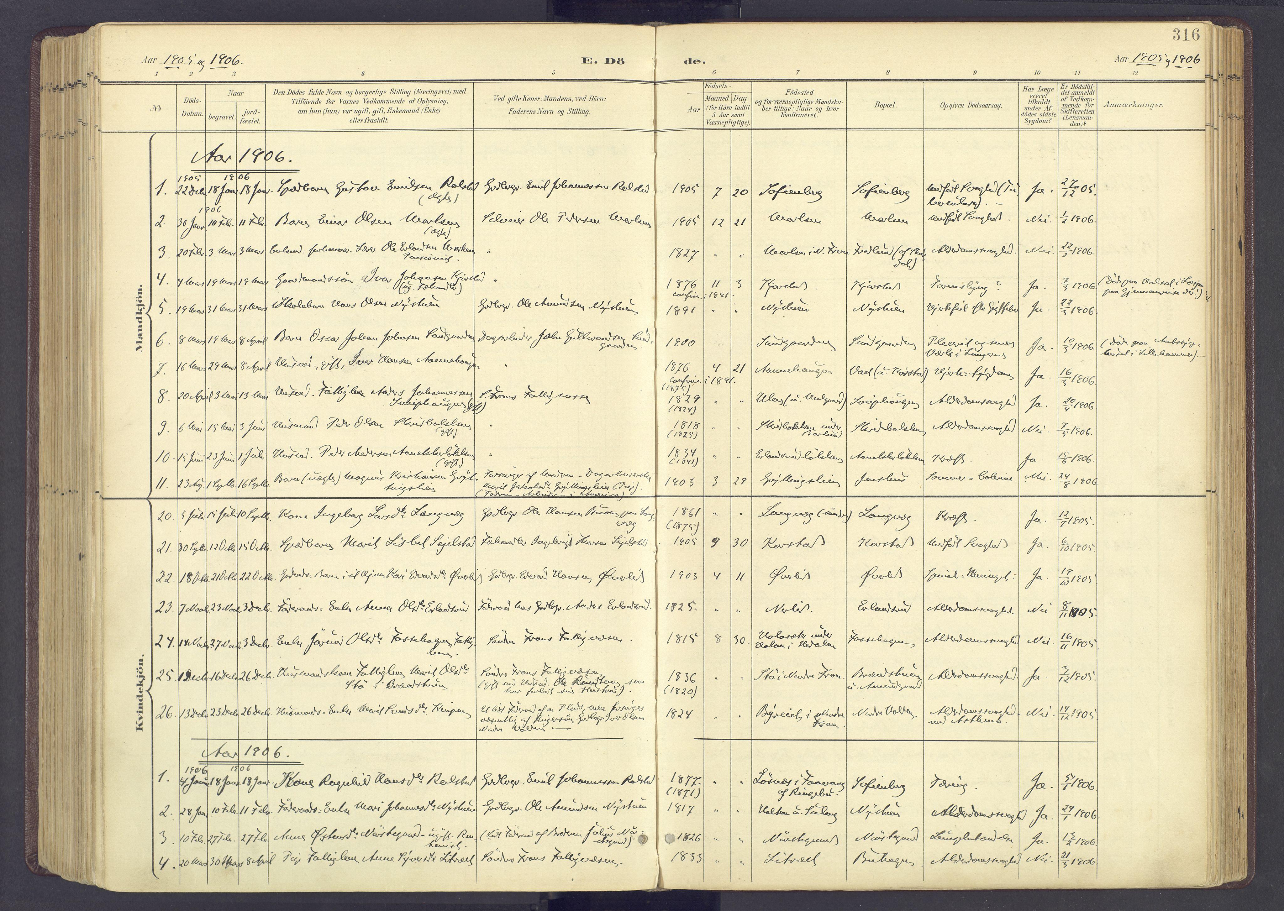 SAH, Sør-Fron prestekontor, H/Ha/Haa/L0004: Ministerialbok nr. 4, 1898-1919, s. 316