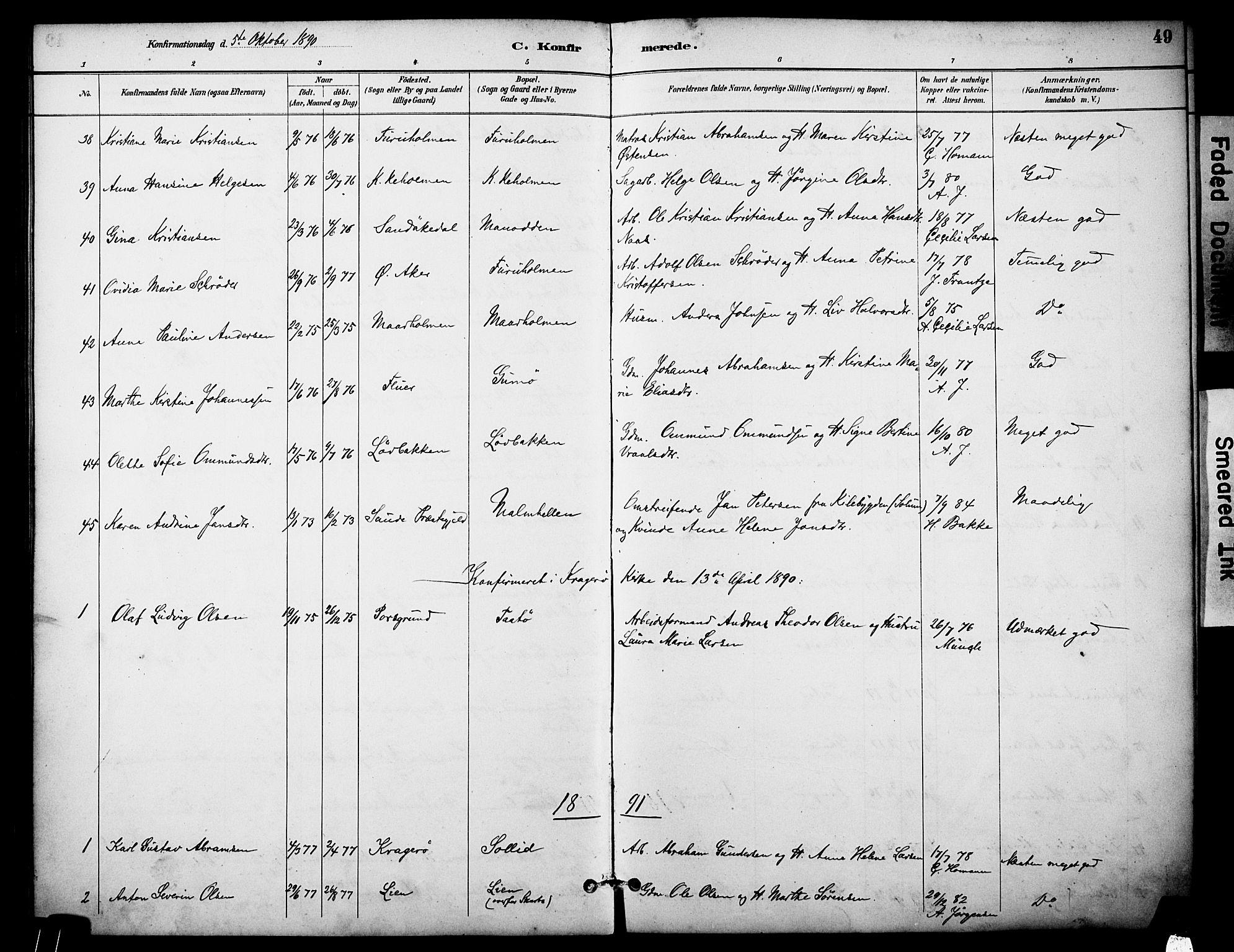 SAKO, Skåtøy kirkebøker, F/Fa/L0003: Ministerialbok nr. I 3, 1884-1899, s. 49