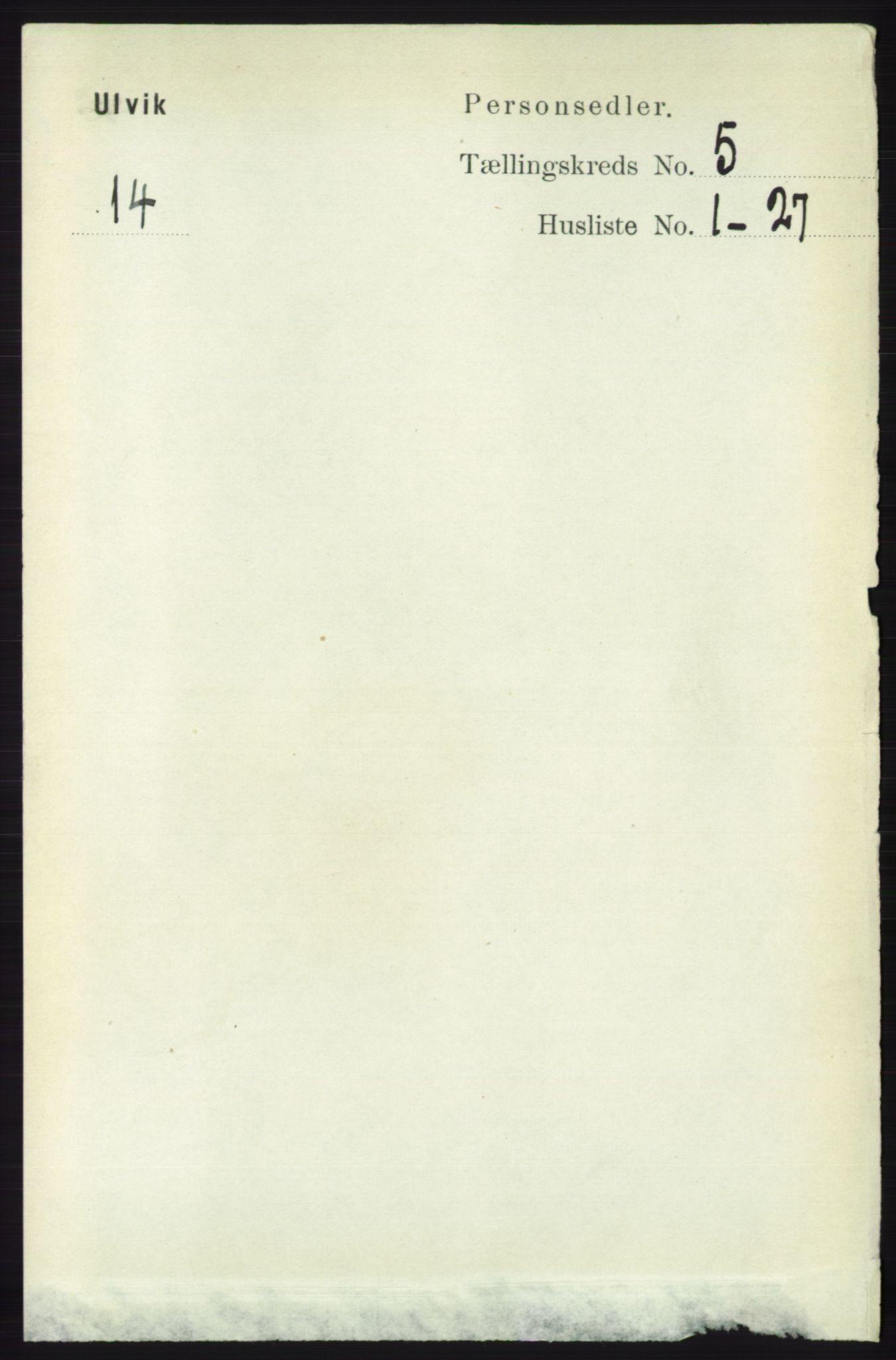 RA, Folketelling 1891 for 1233 Ulvik herred, 1891, s. 1401