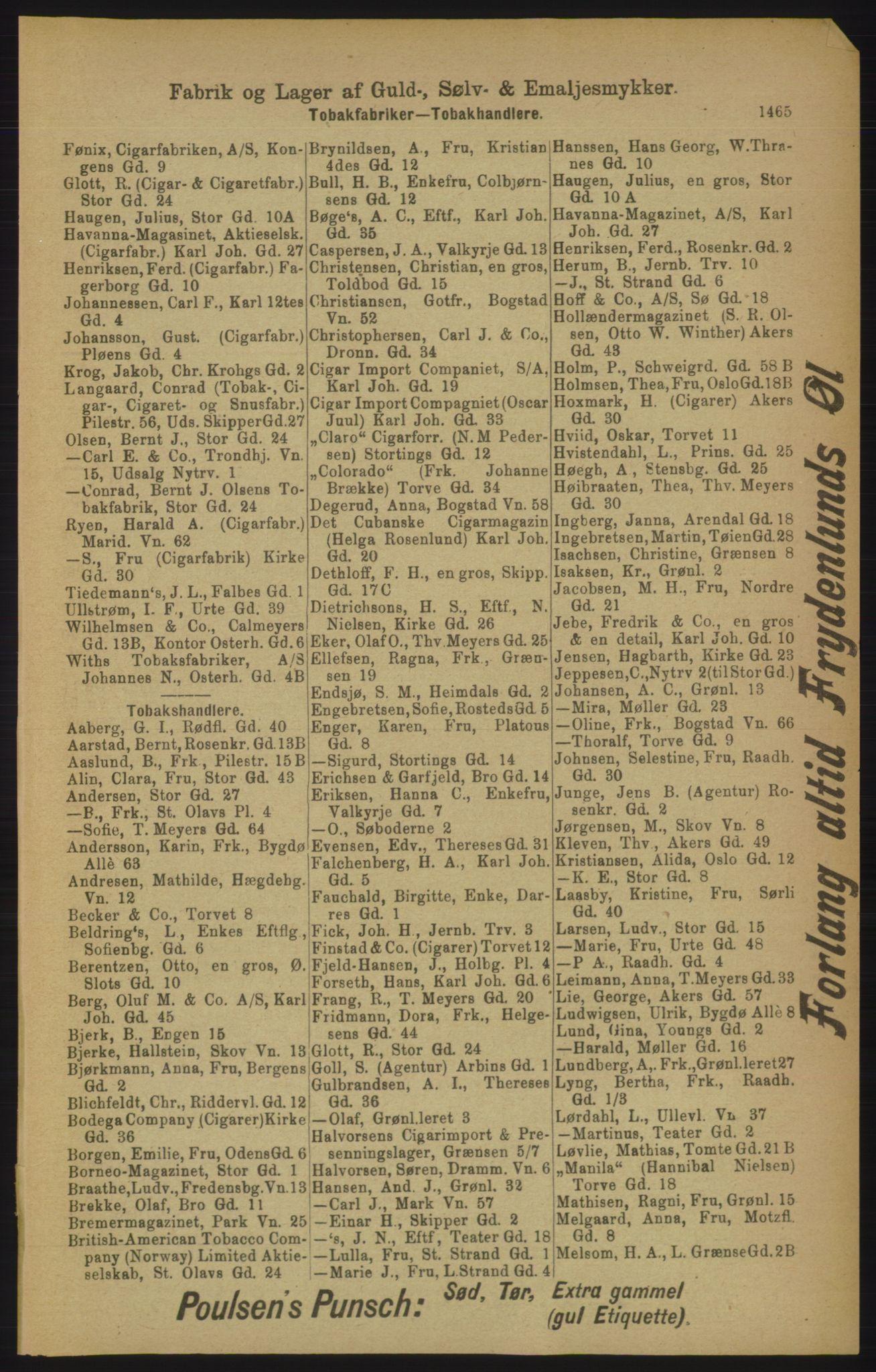 RA, Kristiania adressebok (publikasjon)*, 1906, s. 1465