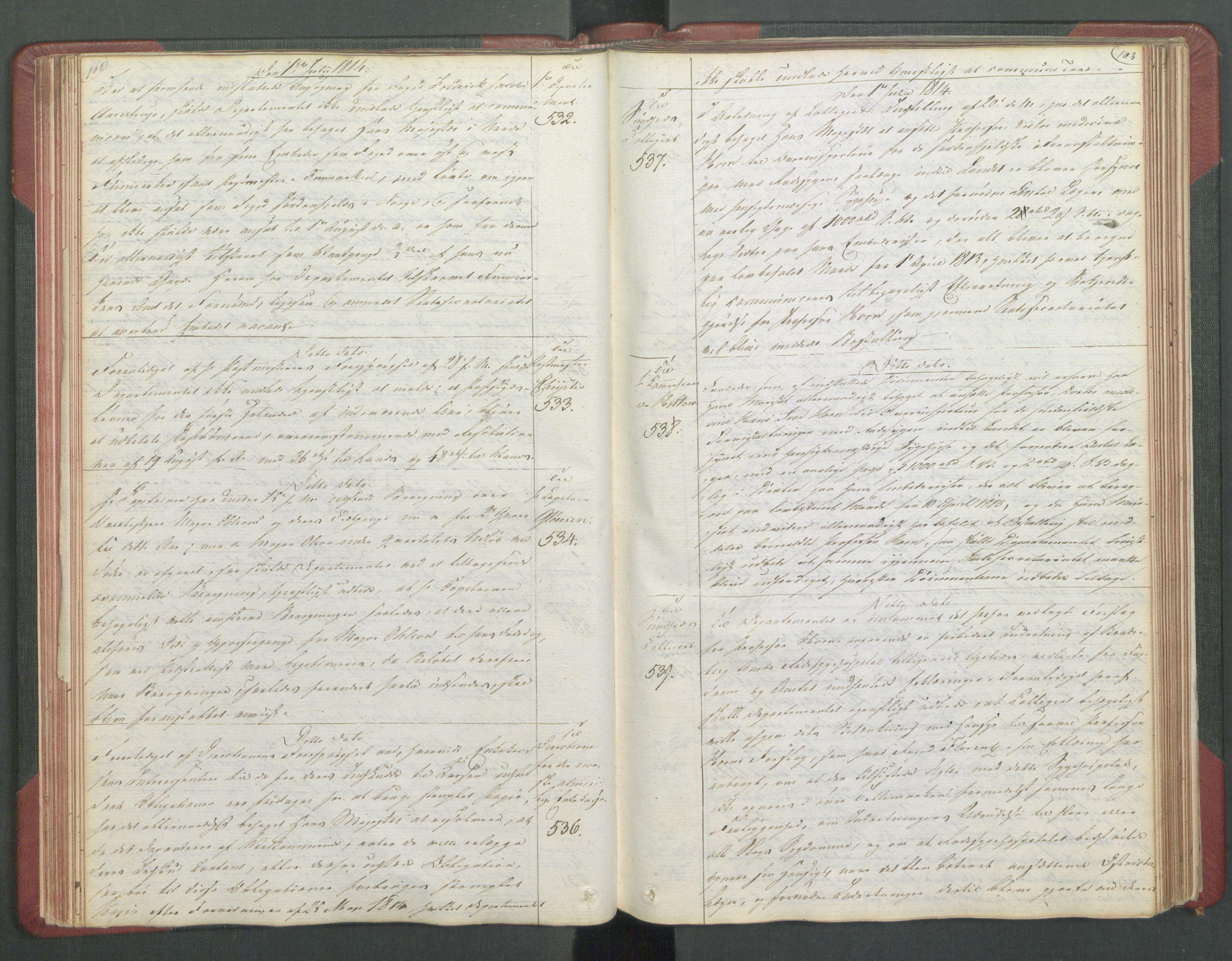RA, Departementene i 1814, Fb/L0028: Kopibok 1-1371, 1814, s. 102-103