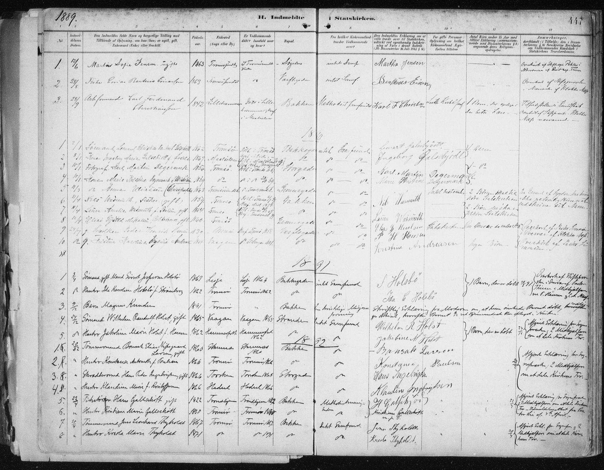 SATØ, Tromsø sokneprestkontor/stiftsprosti/domprosti, G/Ga/L0015kirke: Ministerialbok nr. 15, 1889-1899, s. 447