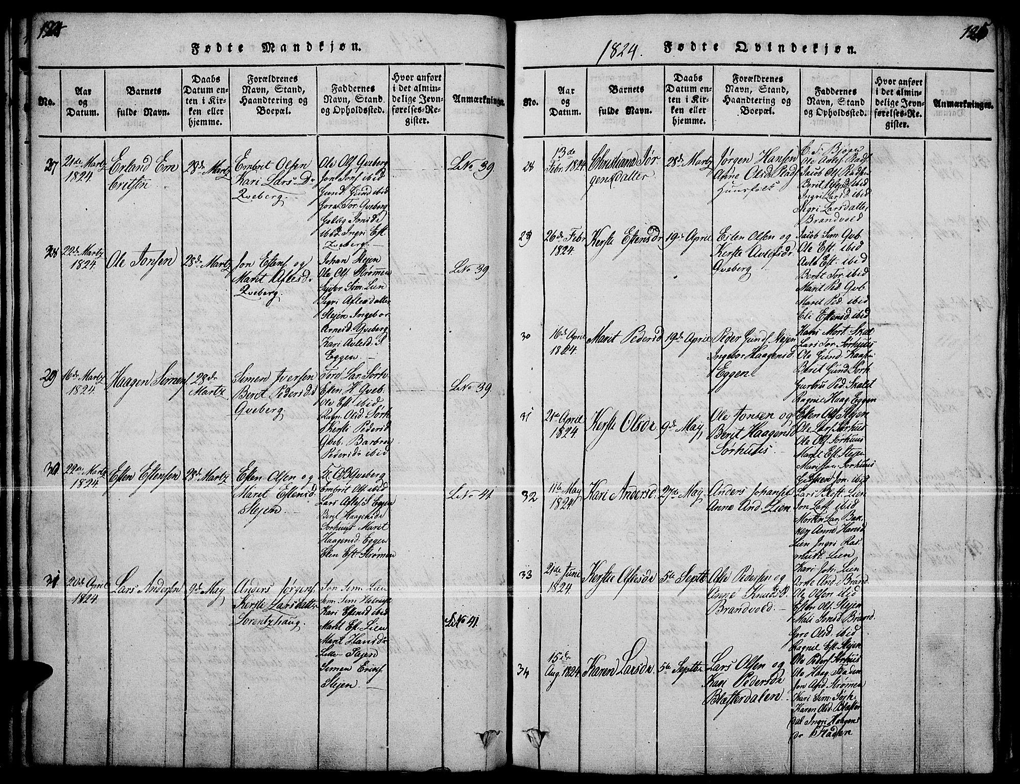 SAH, Tynset prestekontor, Ministerialbok nr. 18, 1815-1829, s. 124-125