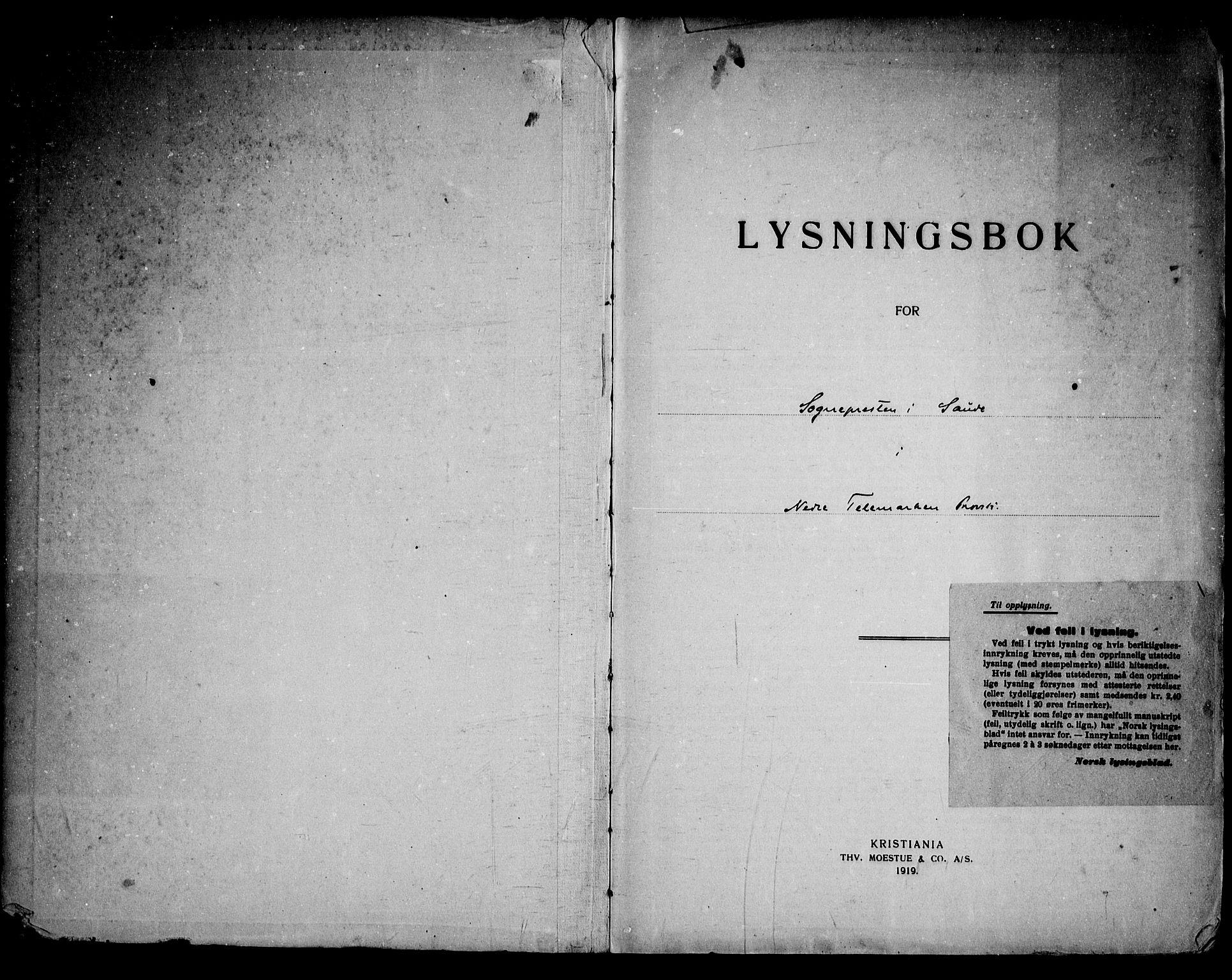 SAKO, Sauherad kirkebøker, H/Ha/L0001: Lysningsprotokoll nr. 1, 1919-1960