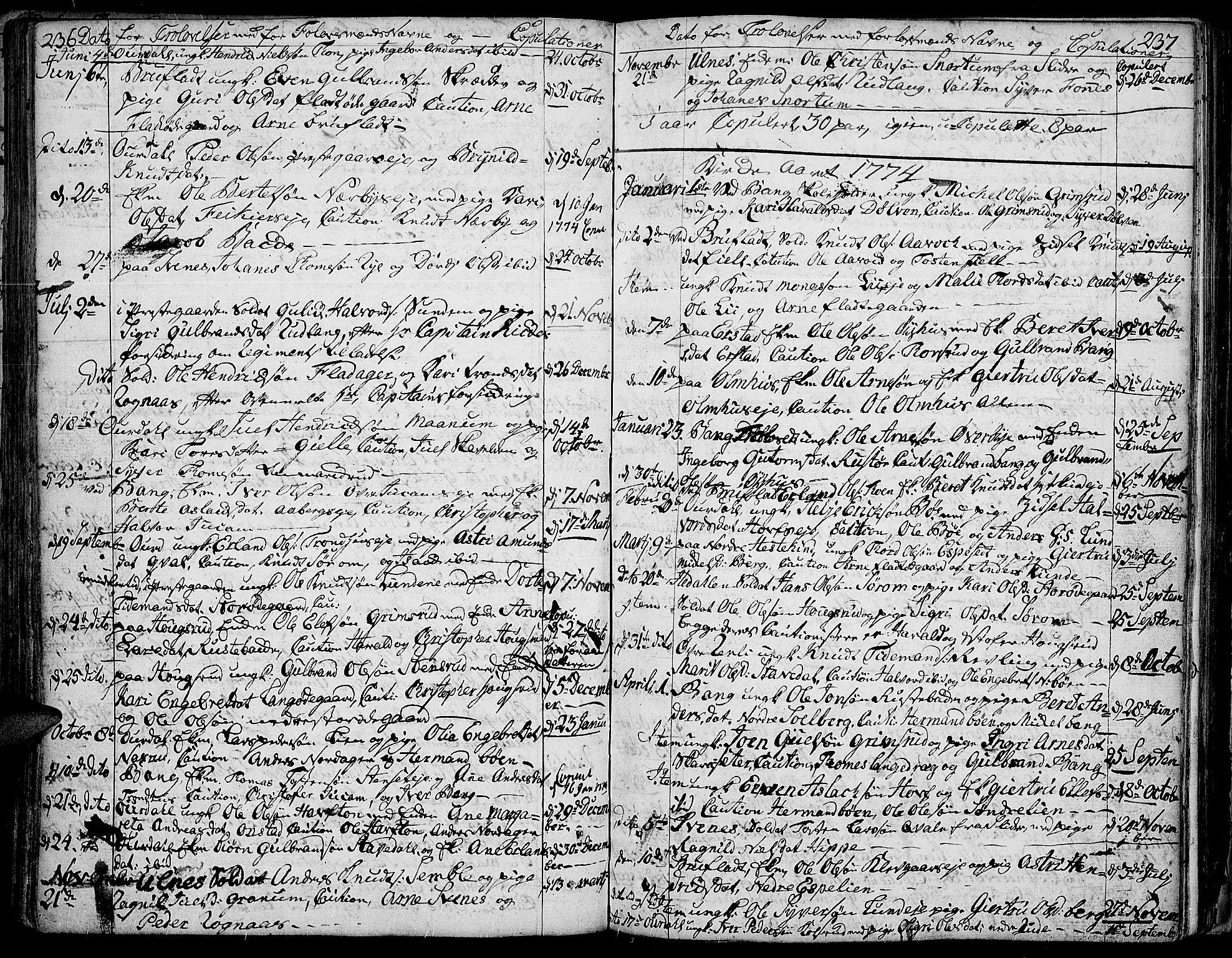 SAH, Aurdal prestekontor, Ministerialbok nr. 5, 1763-1781, s. 236-237