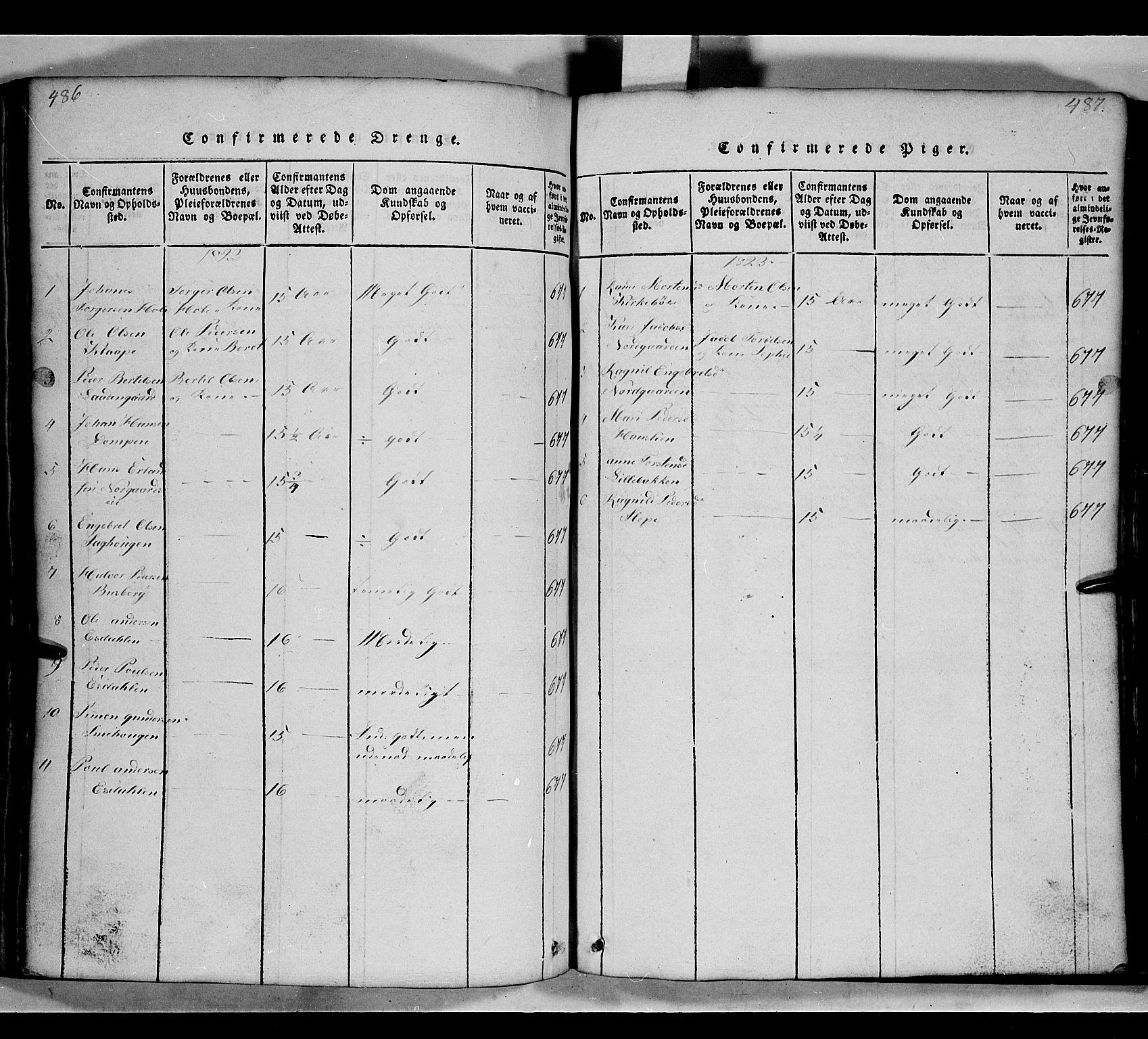 SAH, Gausdal prestekontor, Klokkerbok nr. 2, 1818-1874, s. 486-487
