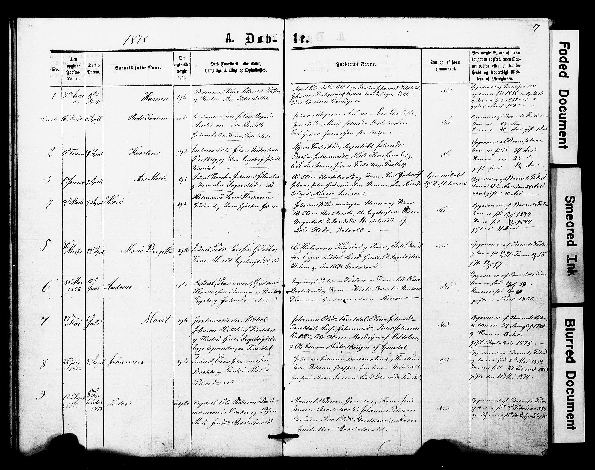 SAT, Ministerialprotokoller, klokkerbøker og fødselsregistre - Nord-Trøndelag, 707/L0052: Klokkerbok nr. 707C01, 1864-1897, s. 17
